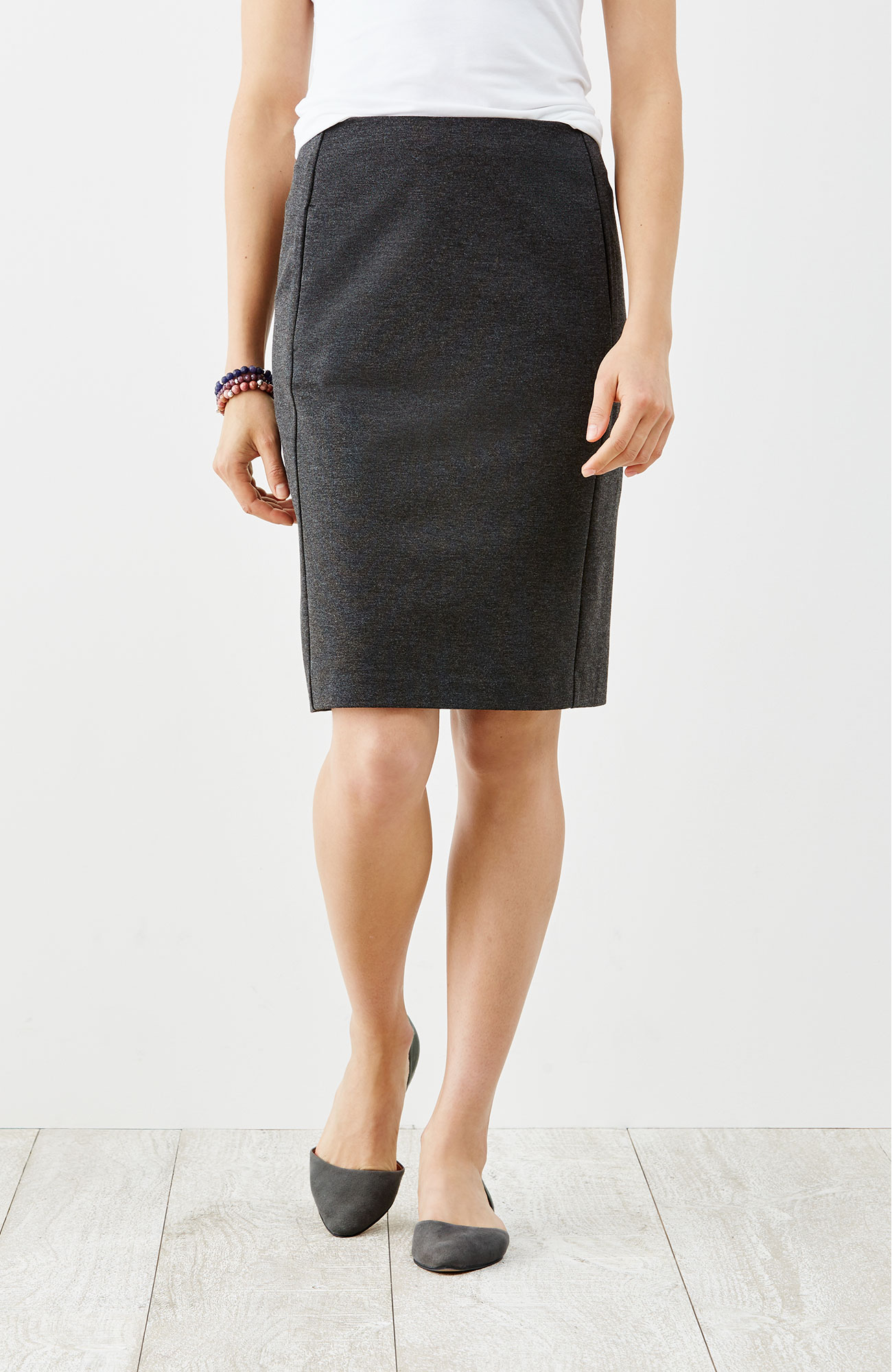 ponte knit forward-seam skirt