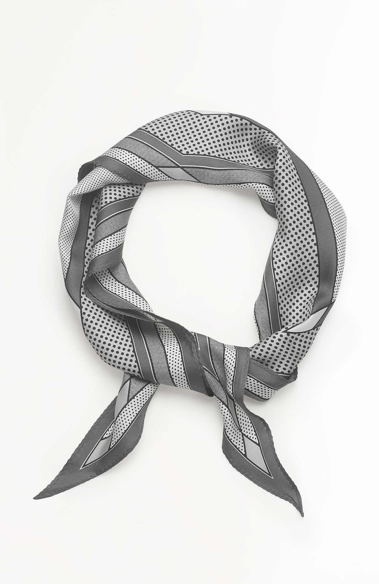 mixed-stripes silk neckerchief