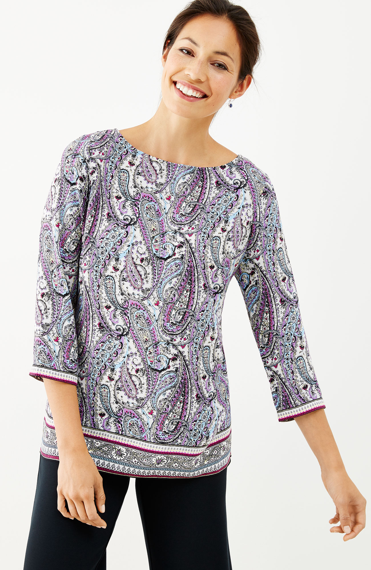wrapped-back paisley top
