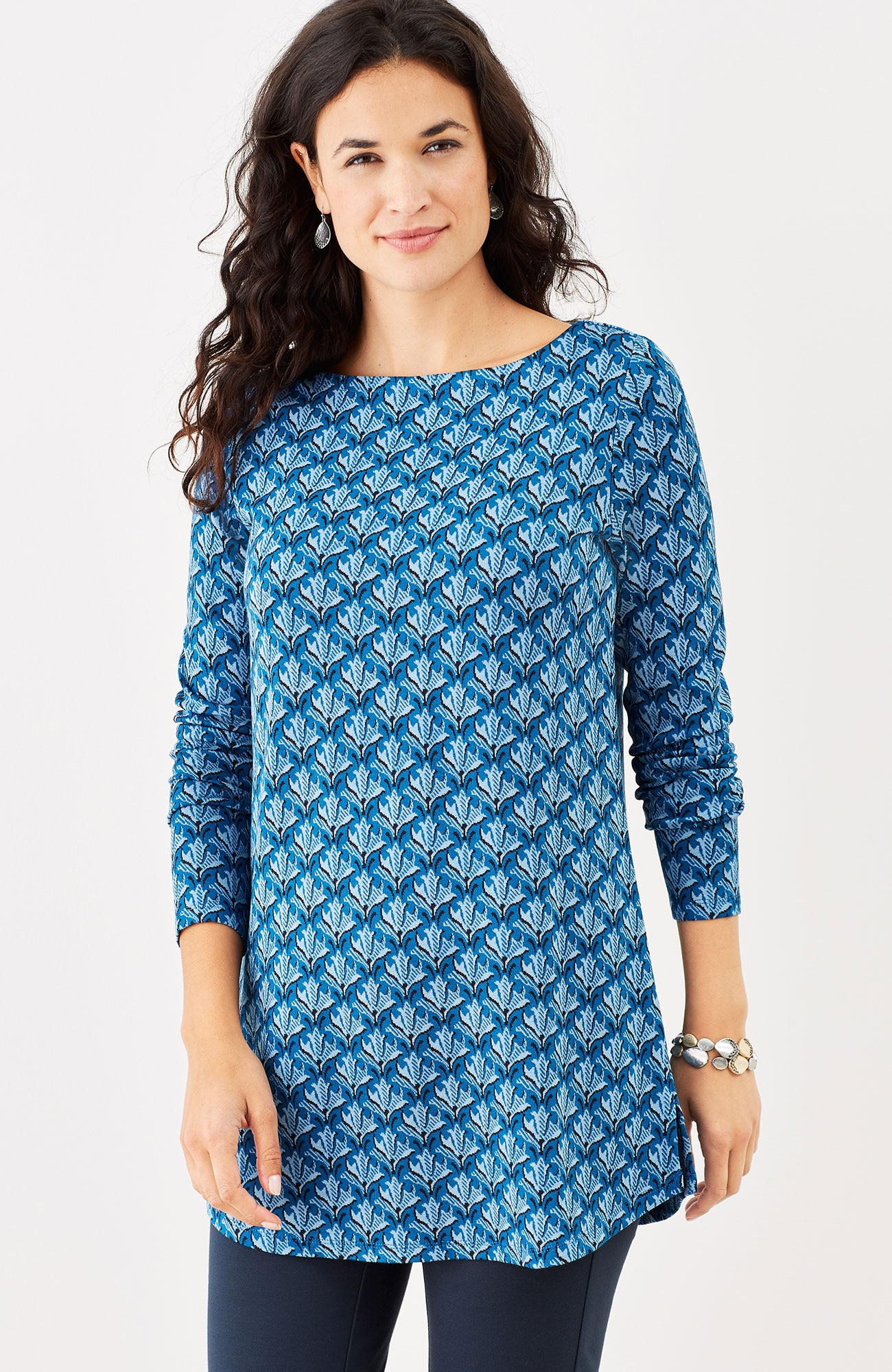 ponte knit jacquard tunic