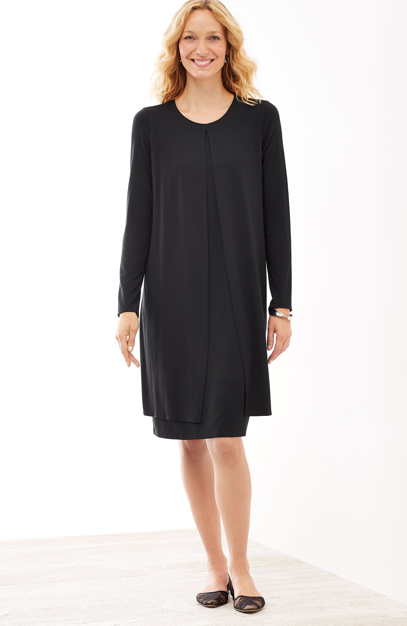 Wearever layered long-sleeve dress