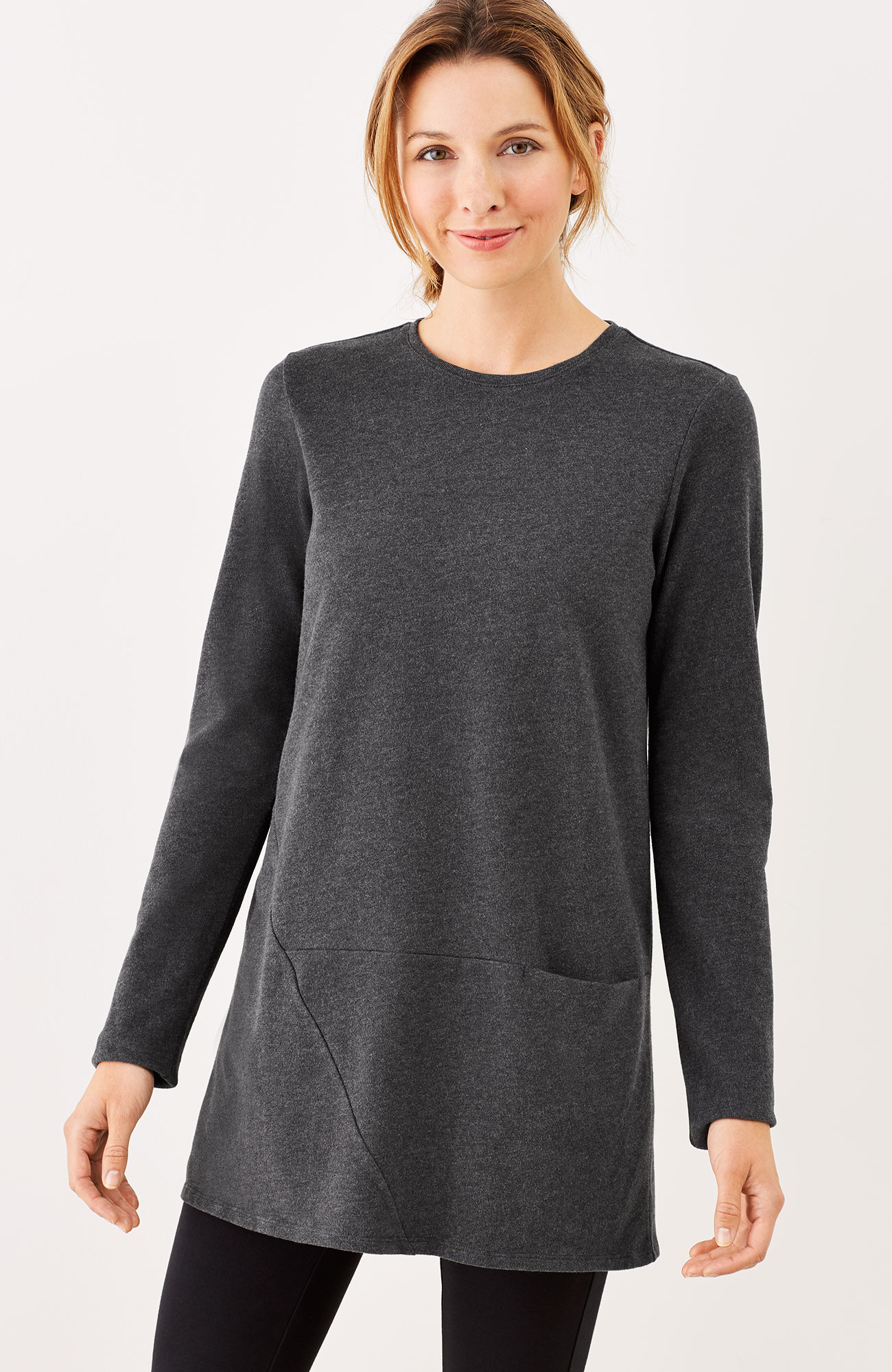 Pure Jill soft-touch cotton seamed tunic