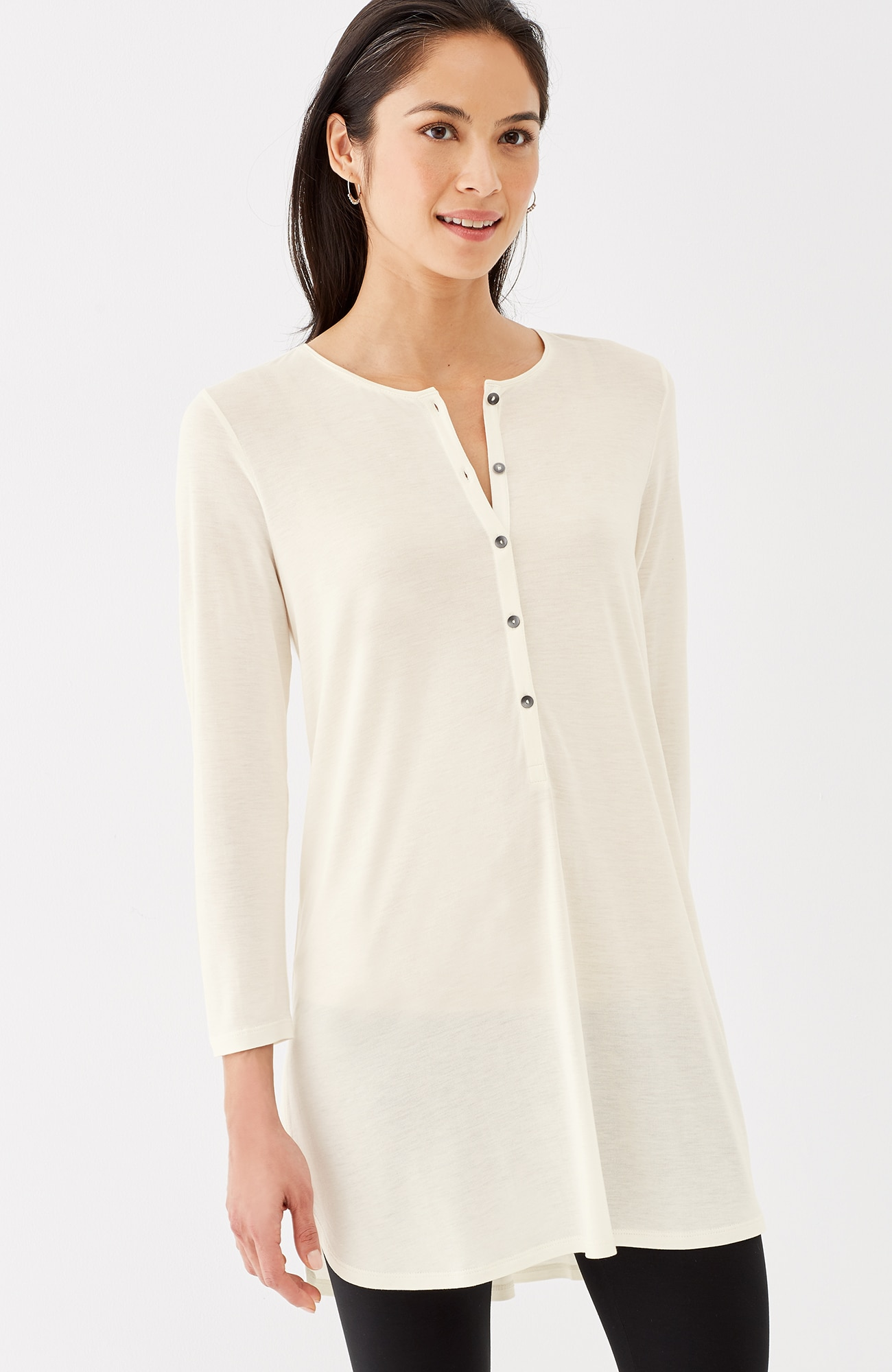 3/4-sleeve Henley tunic