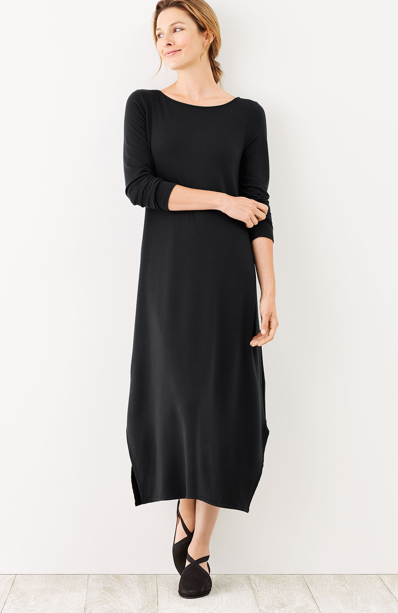 Pure Jill Luxe Tencel® dipped-hem dress