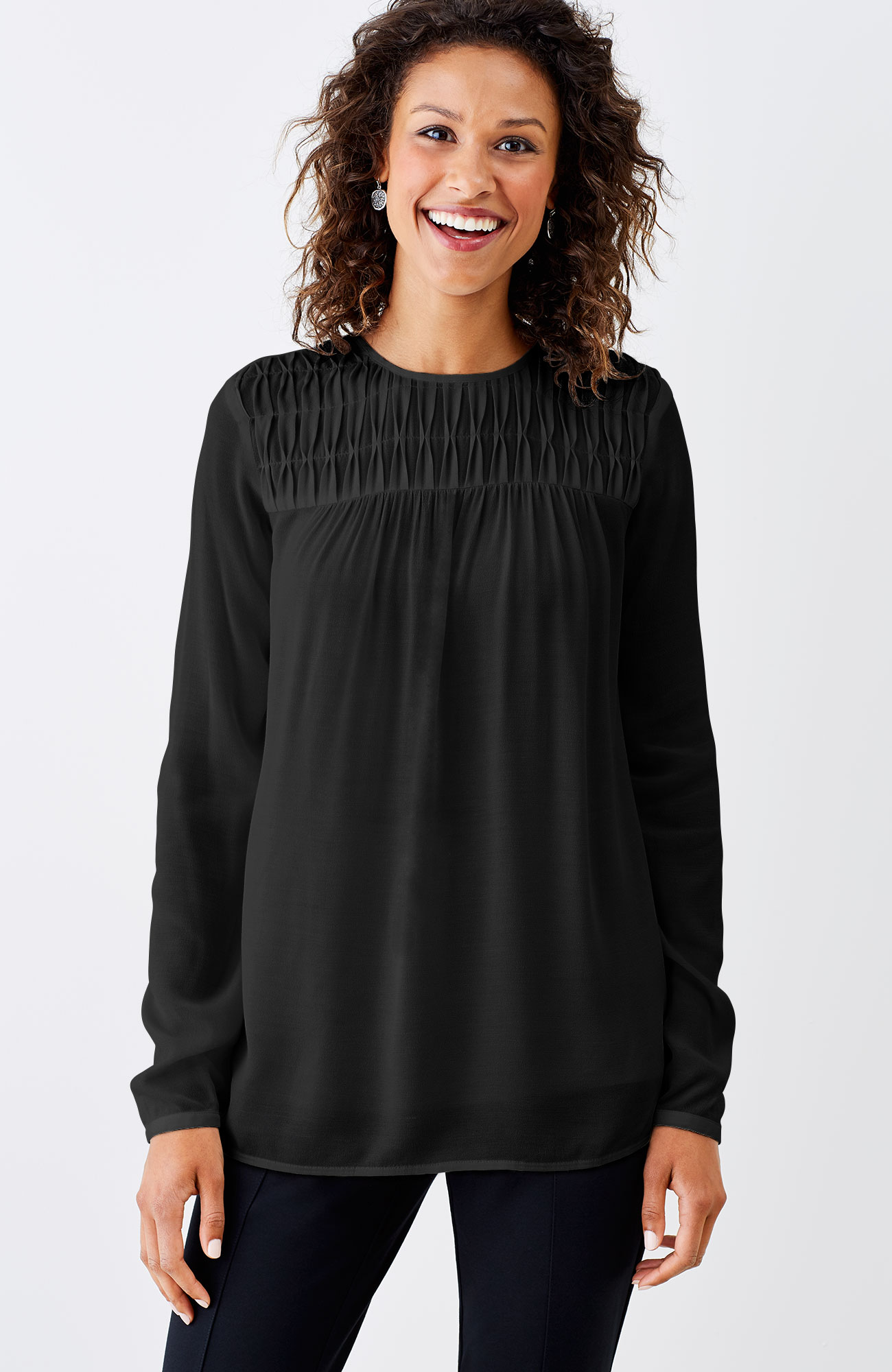 pleated-yoke top