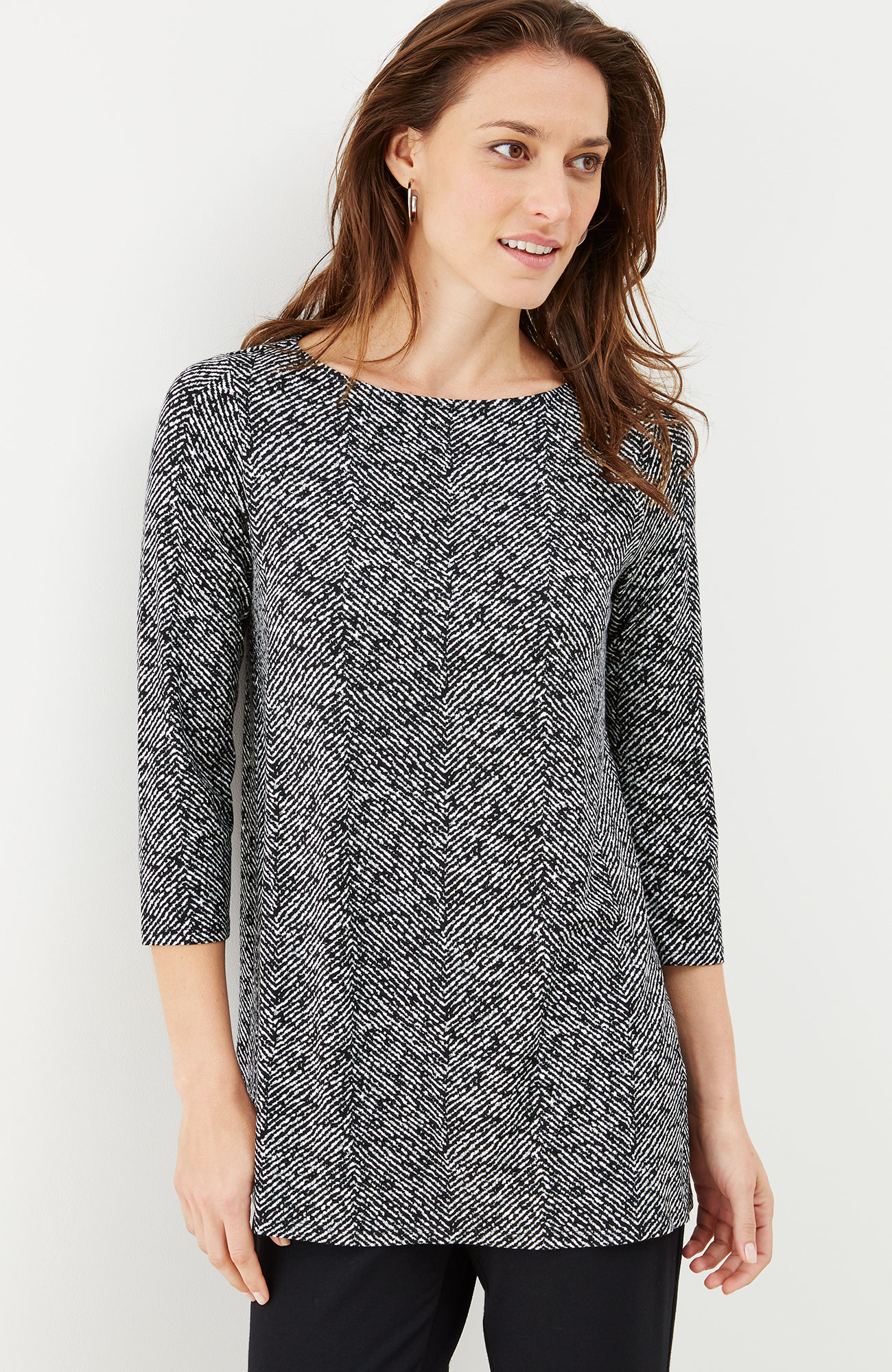 Wearever printed pleated-back tunic