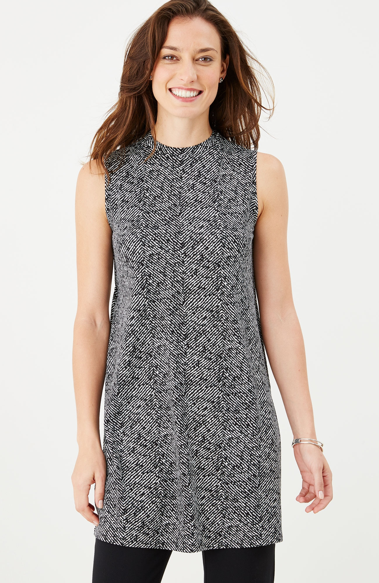 Wearever printed mock-neck sleeveless tunic