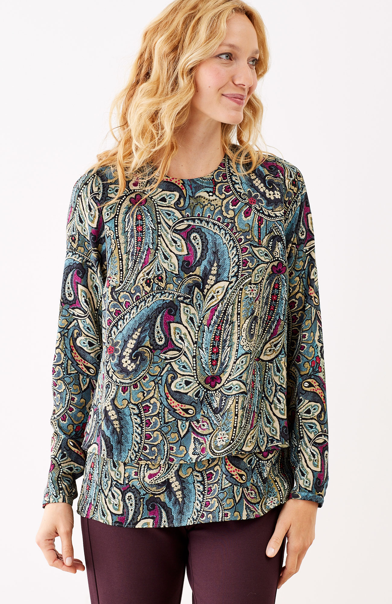 layered long-sleeve paisley top