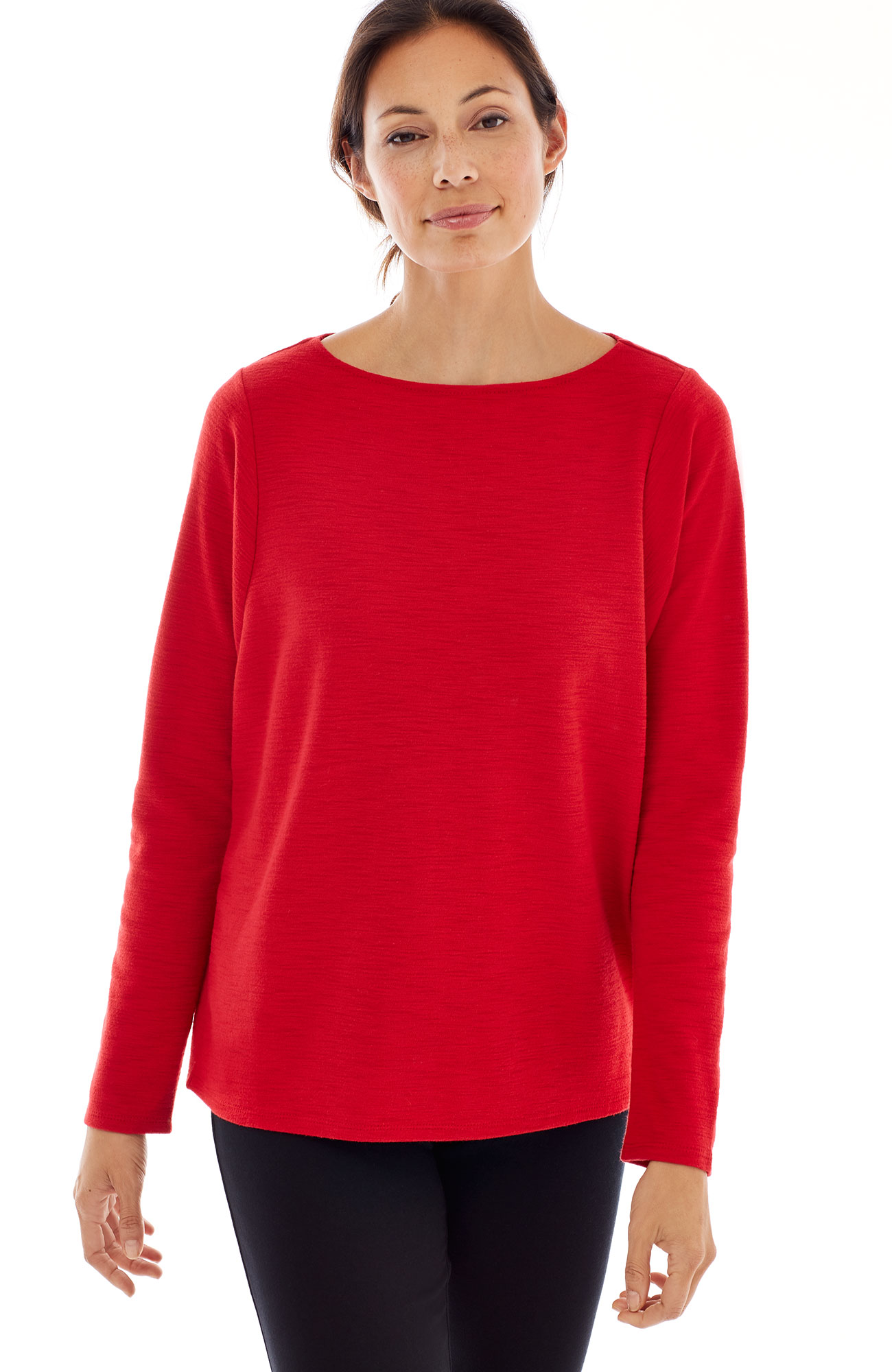 Pure Jill sueded-cotton boat-neck top