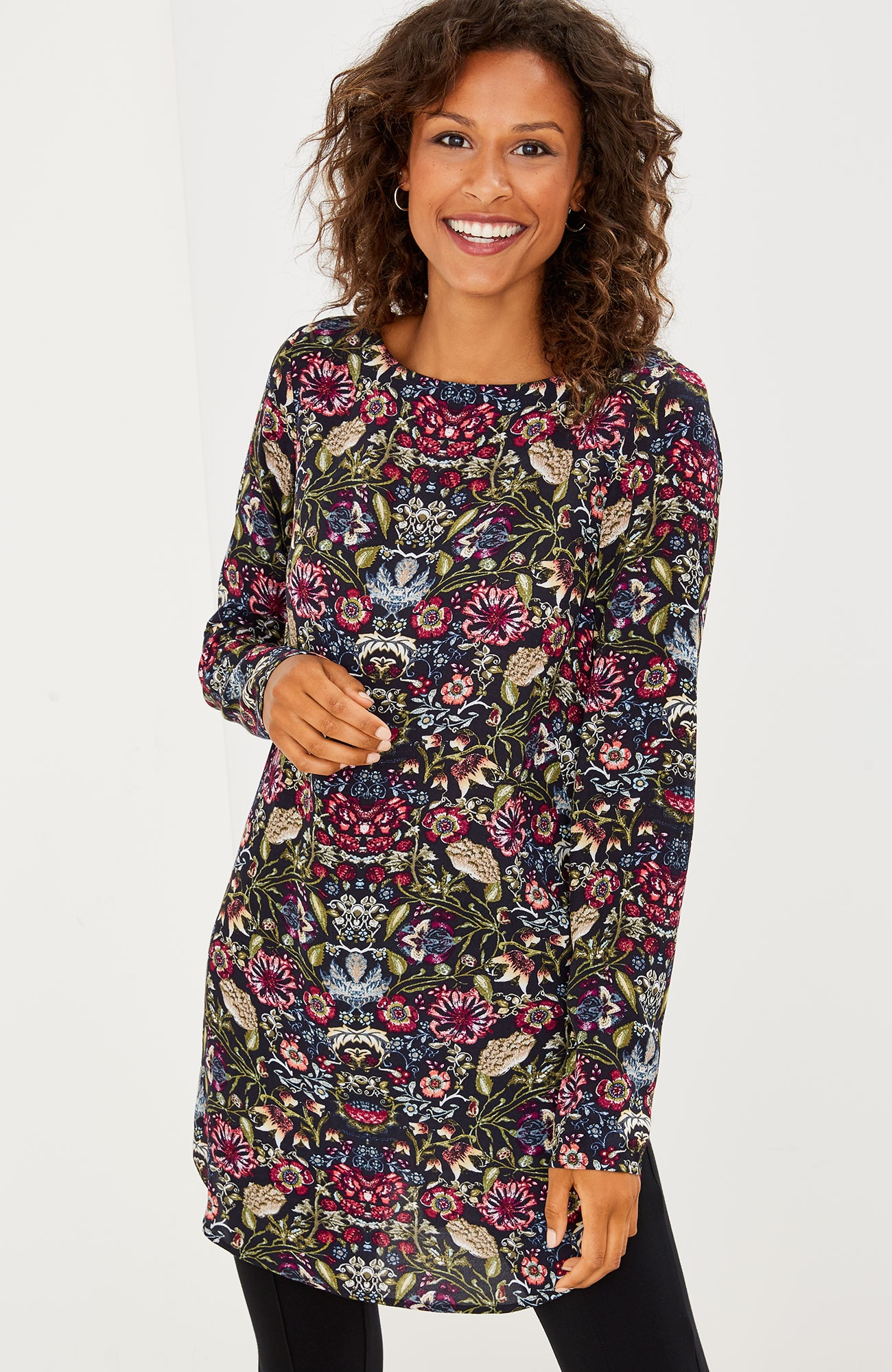 long tapestry-print tunic