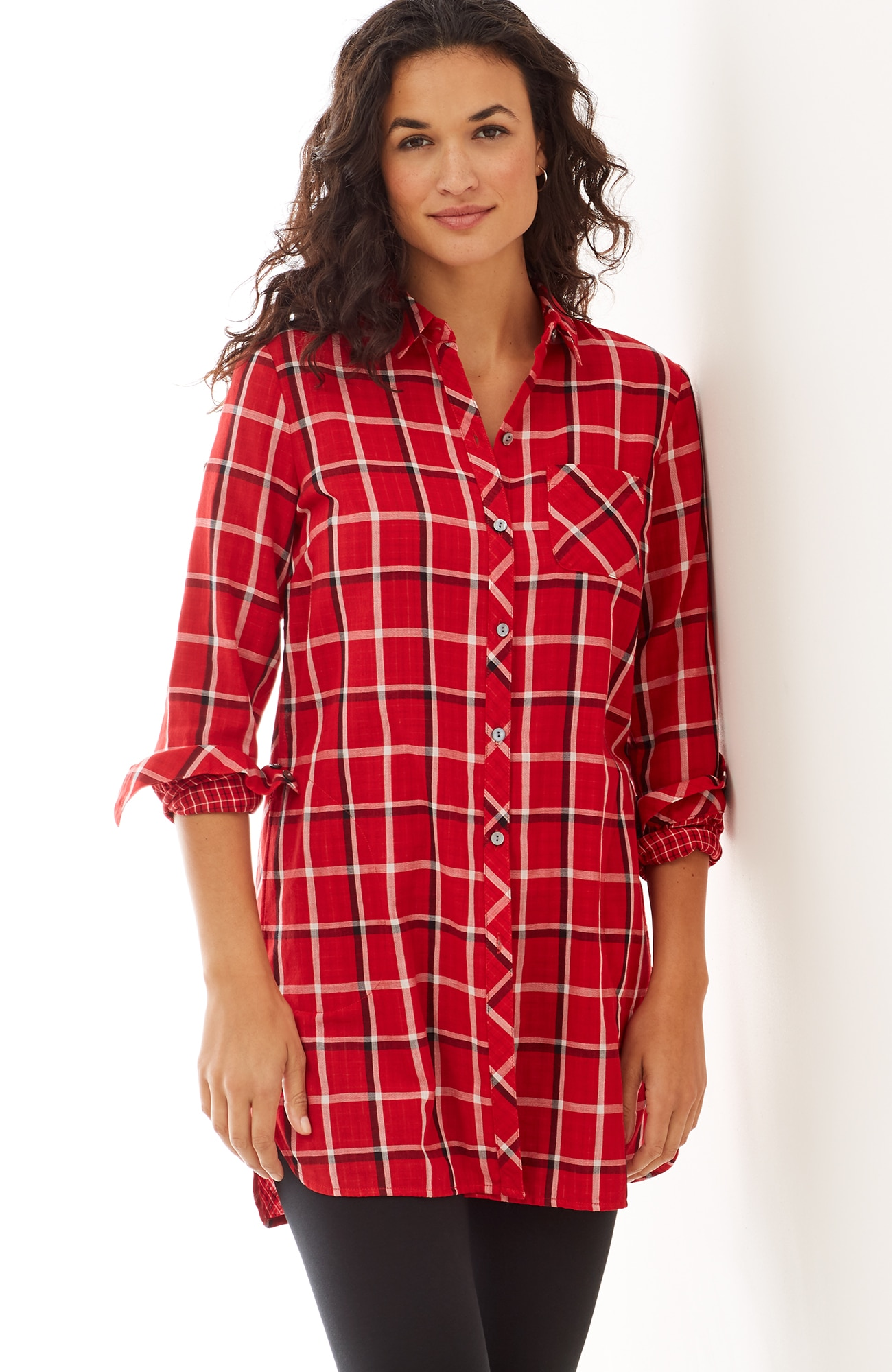 plaid double-cloth long tunic
