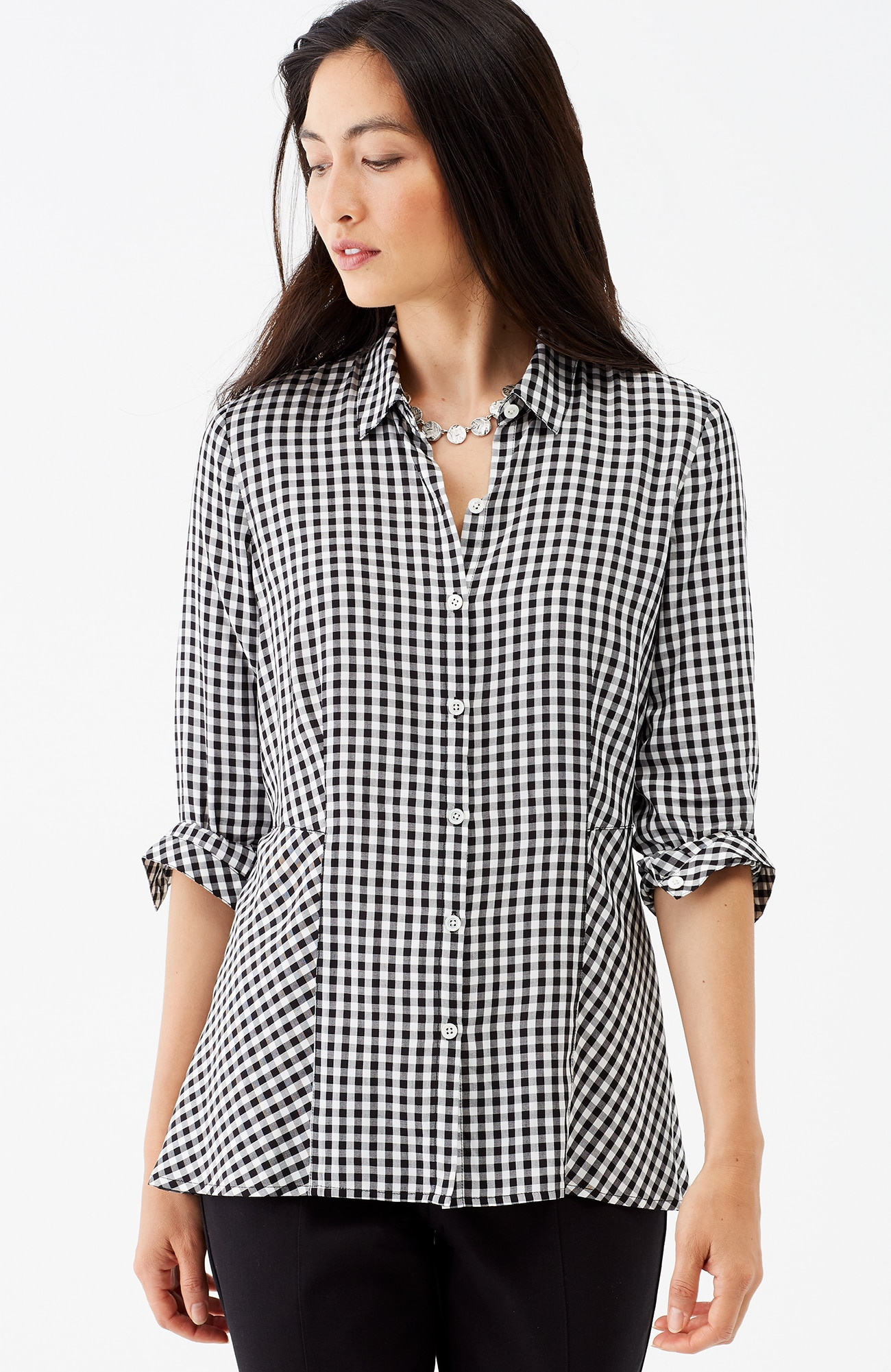 gingham peplum shirt