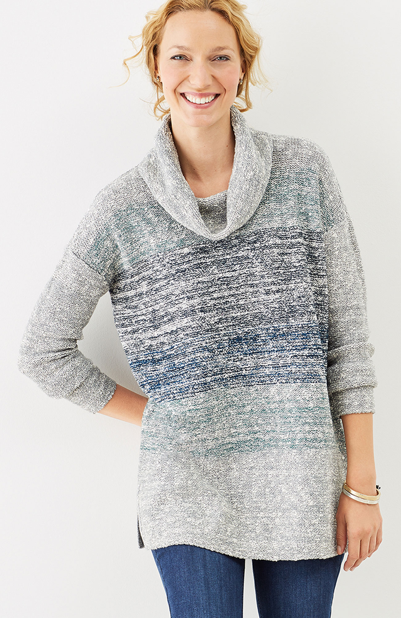 marled-stripes easy pullover