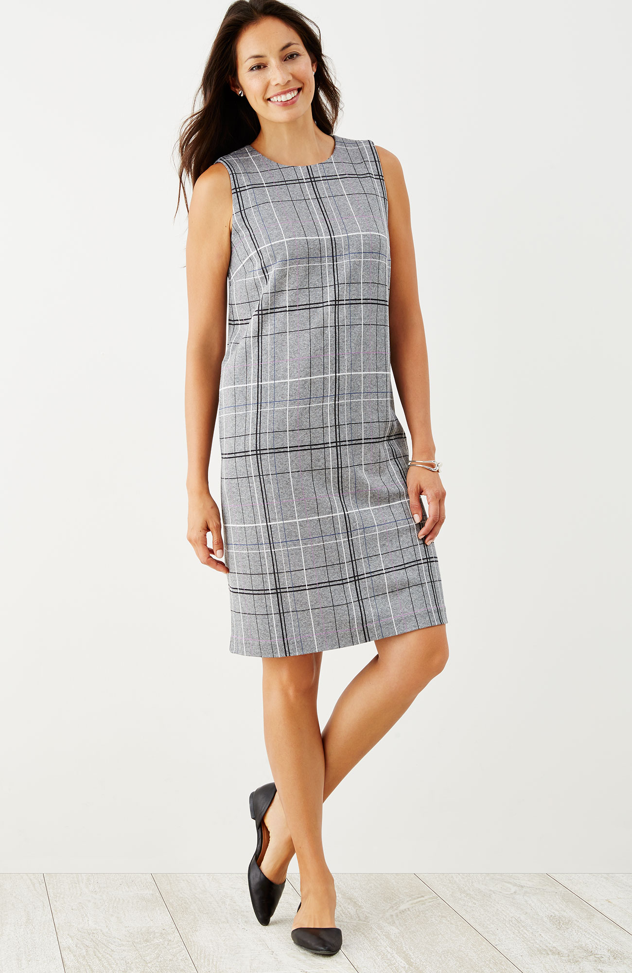 plaid ponte knit sleeveless dress