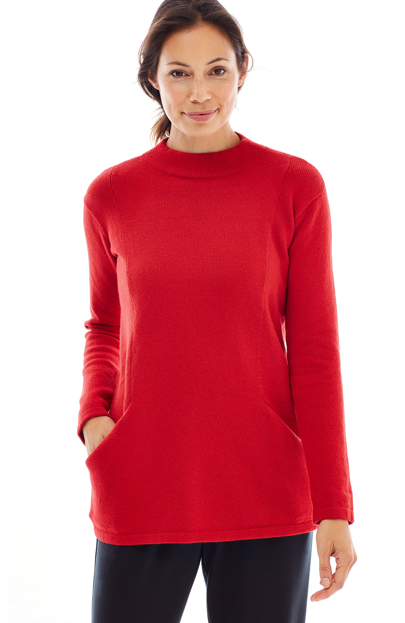 Pure Jill soft funnel-neck pullover