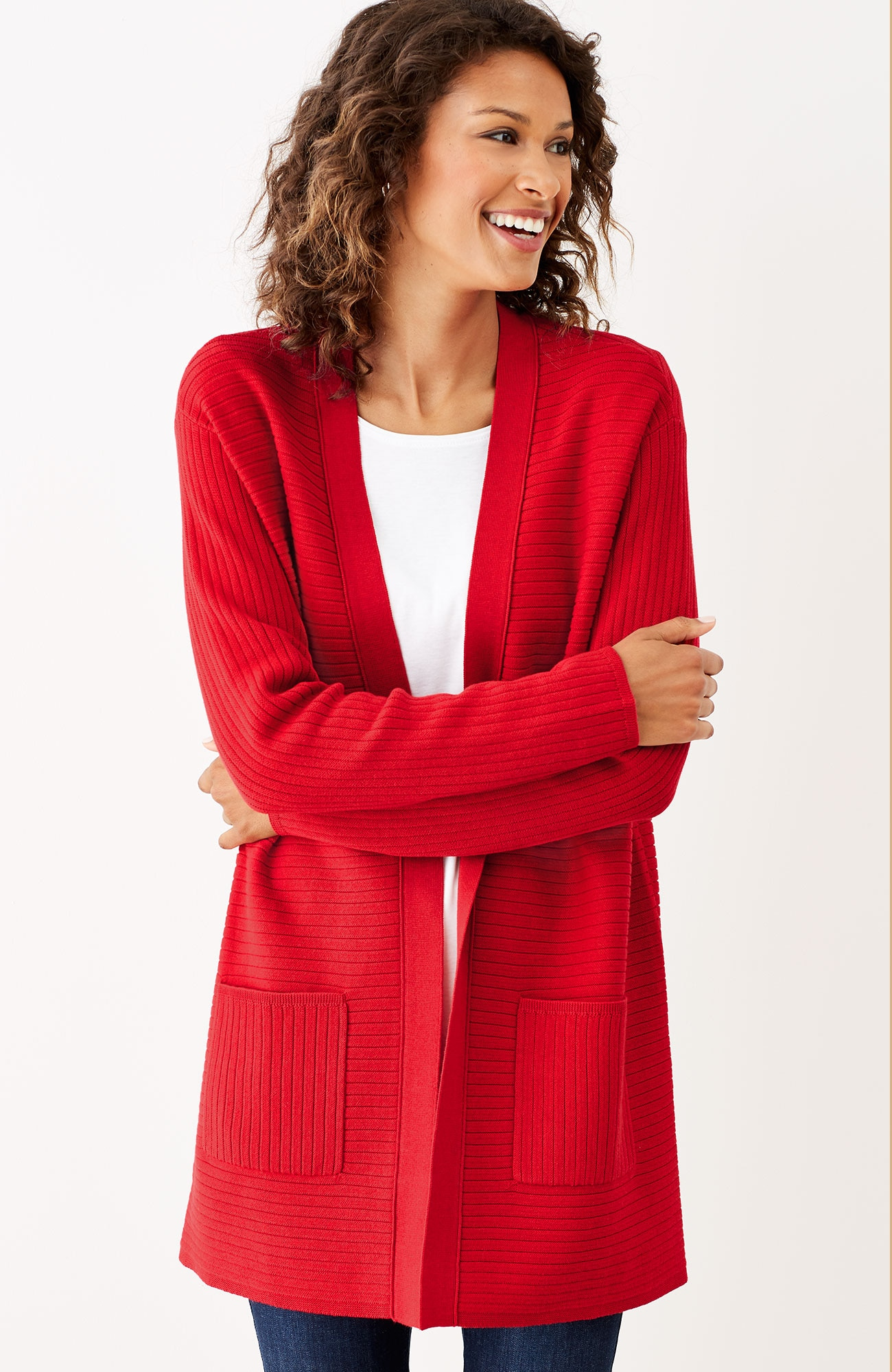 wide-ribbed open cardi