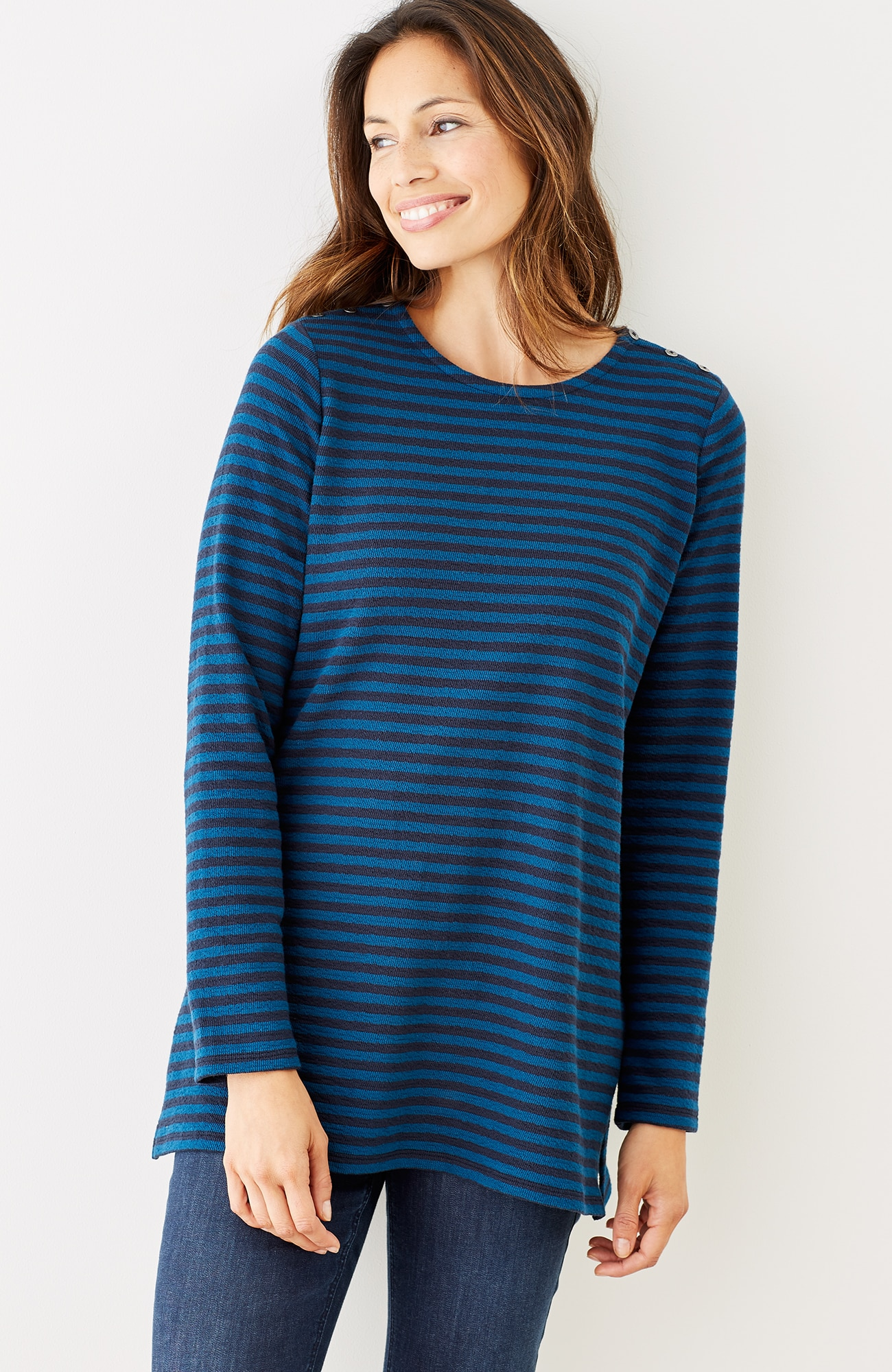 striped button-shoulder tunic
