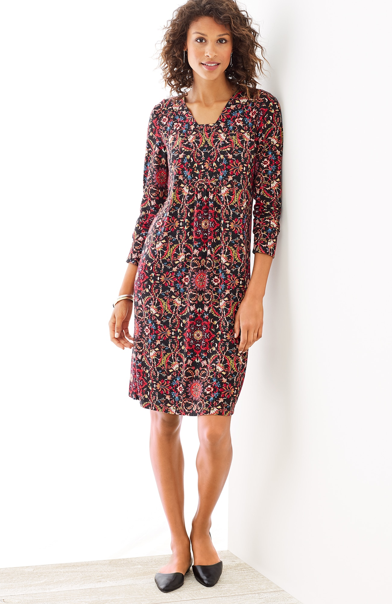 tapestry-print knit dress