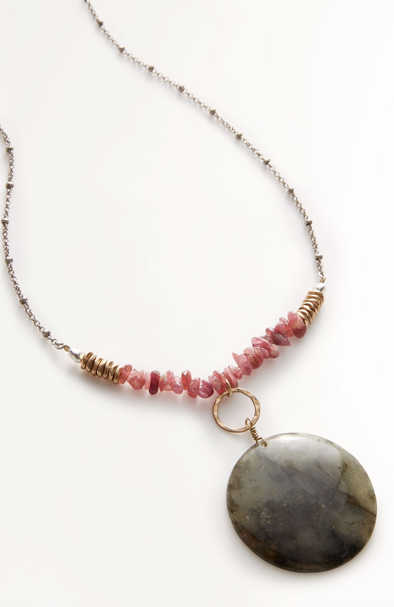 semiprecious beaded pendant necklace