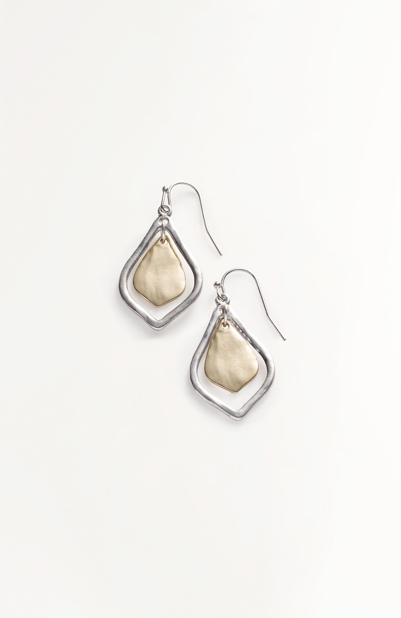 mixed-metal teardrop earrings