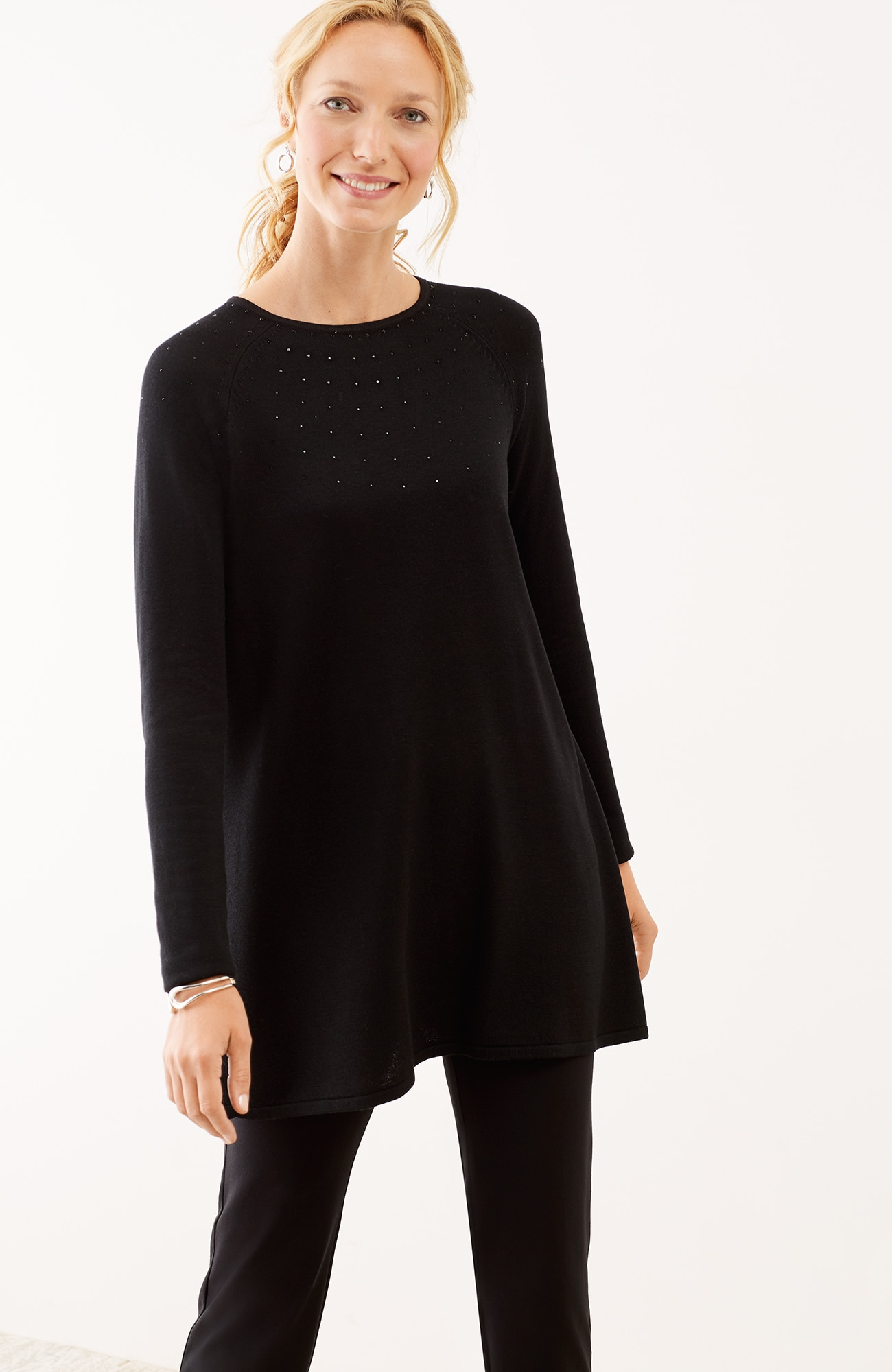 shimmering beads sweater tunic