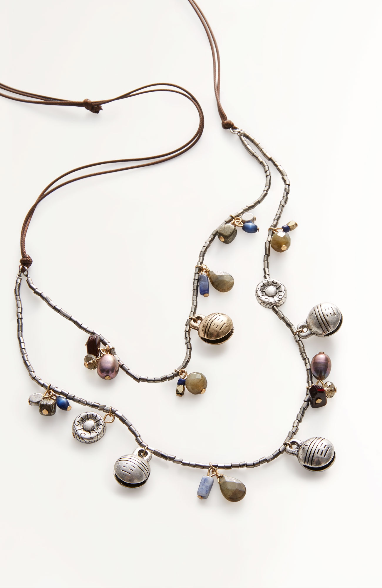 bell charms layered necklace