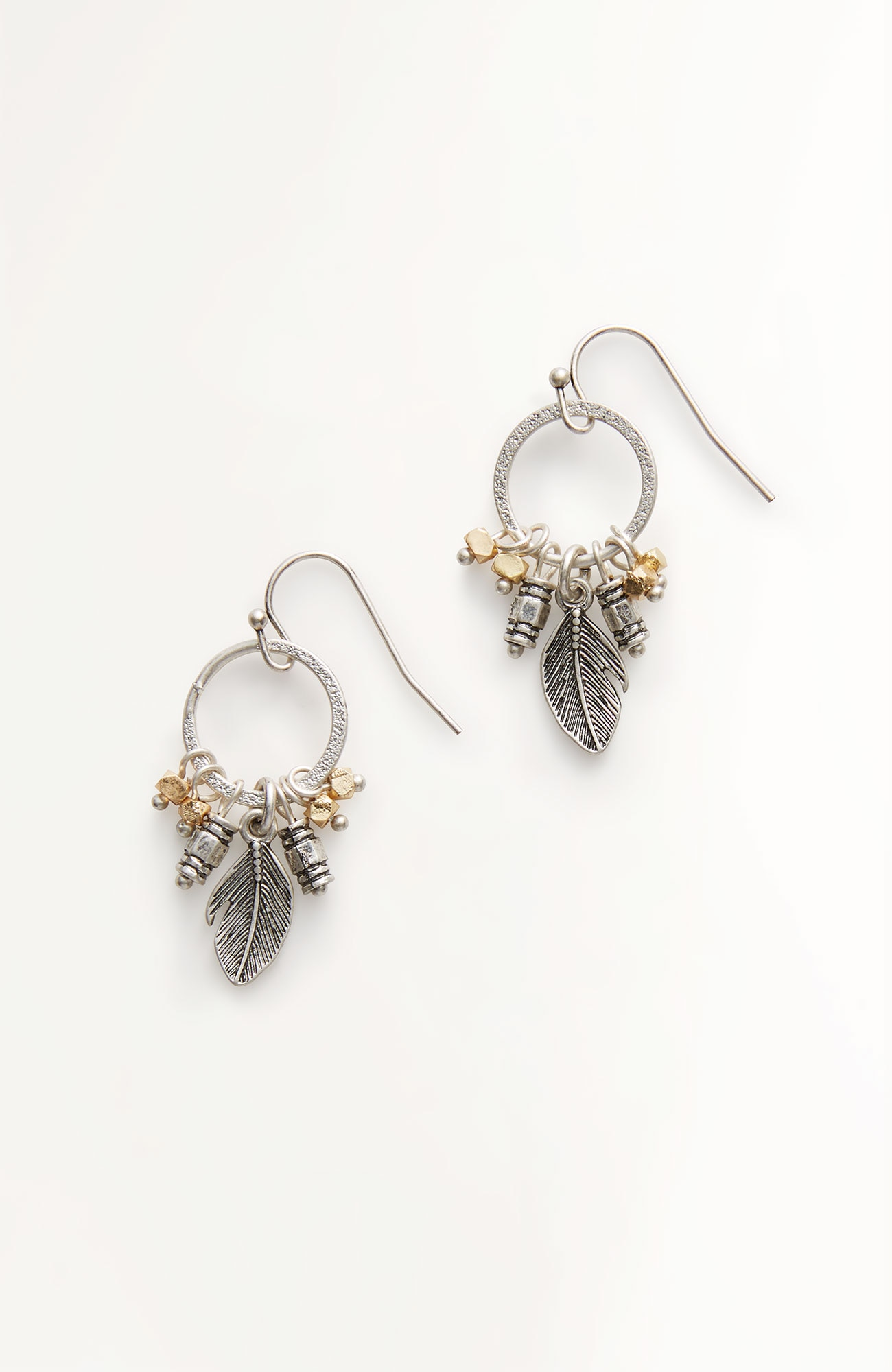 mixed-charms drop earrings