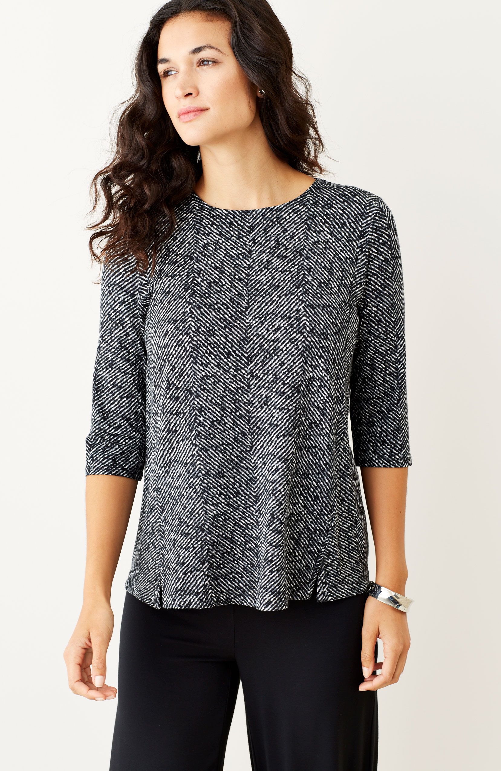 Wearever printed split-hem top
