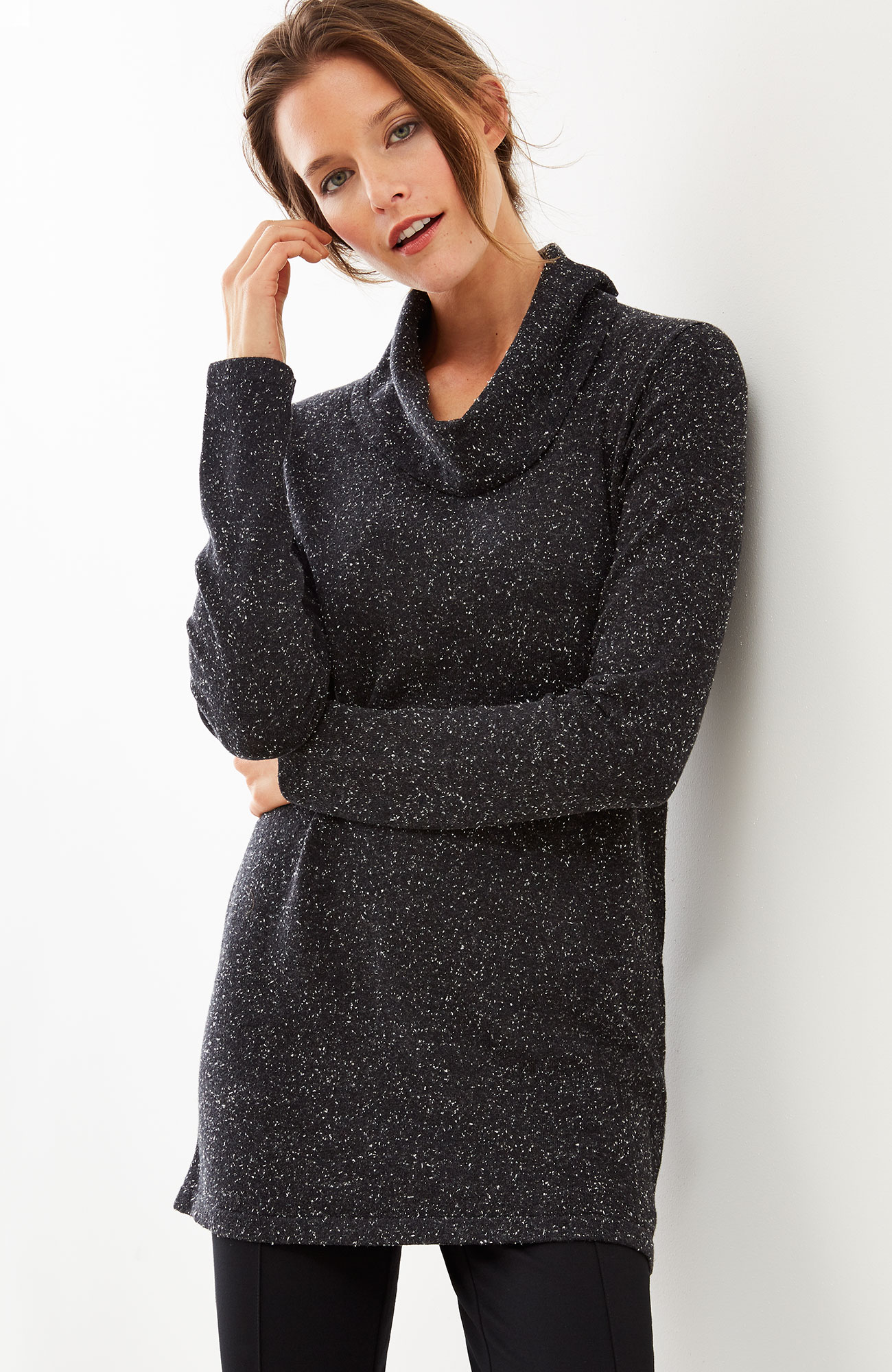 ultrasoft cowl-neck tunic sweater