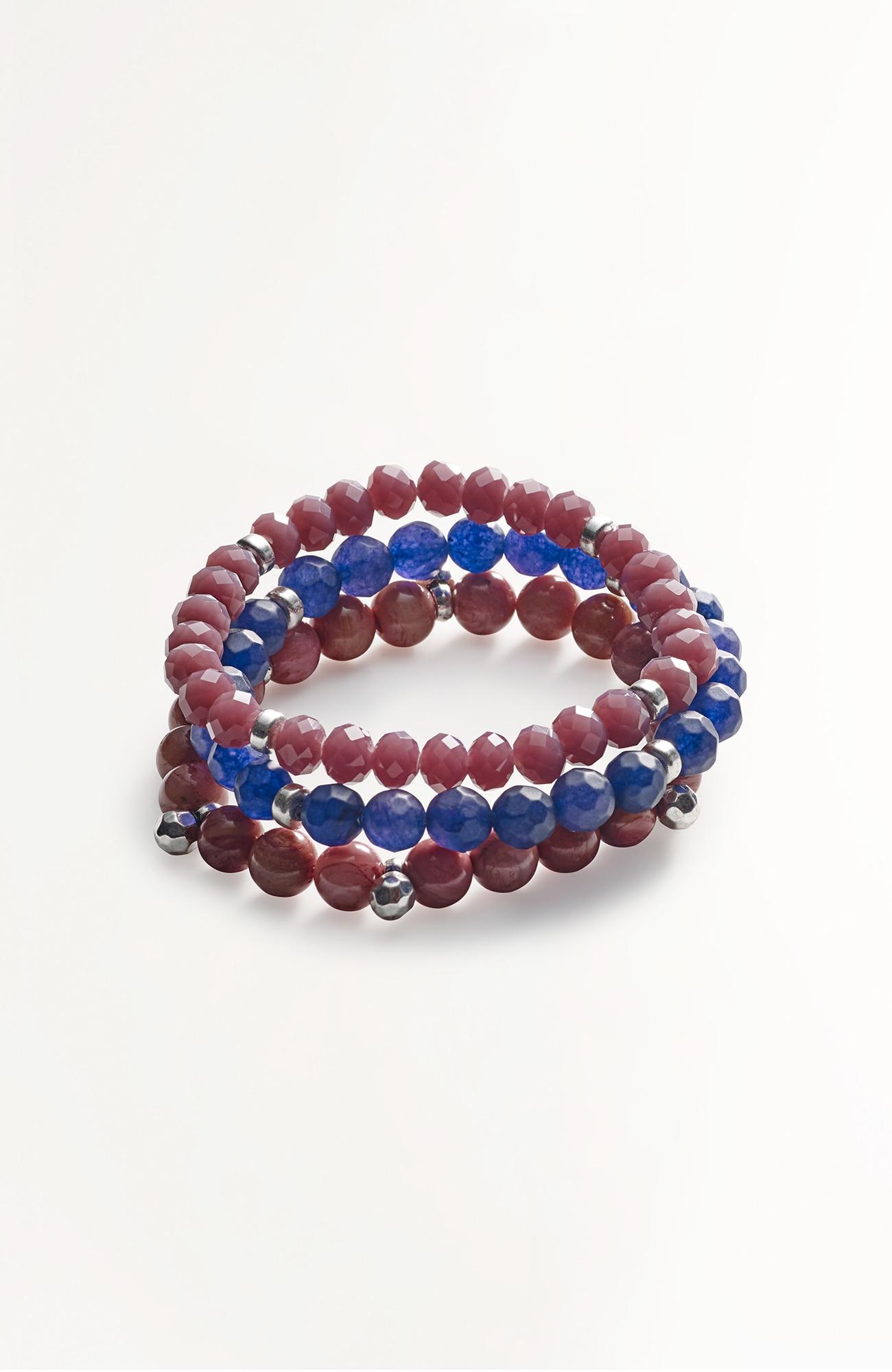 semiprecious bracelet stack