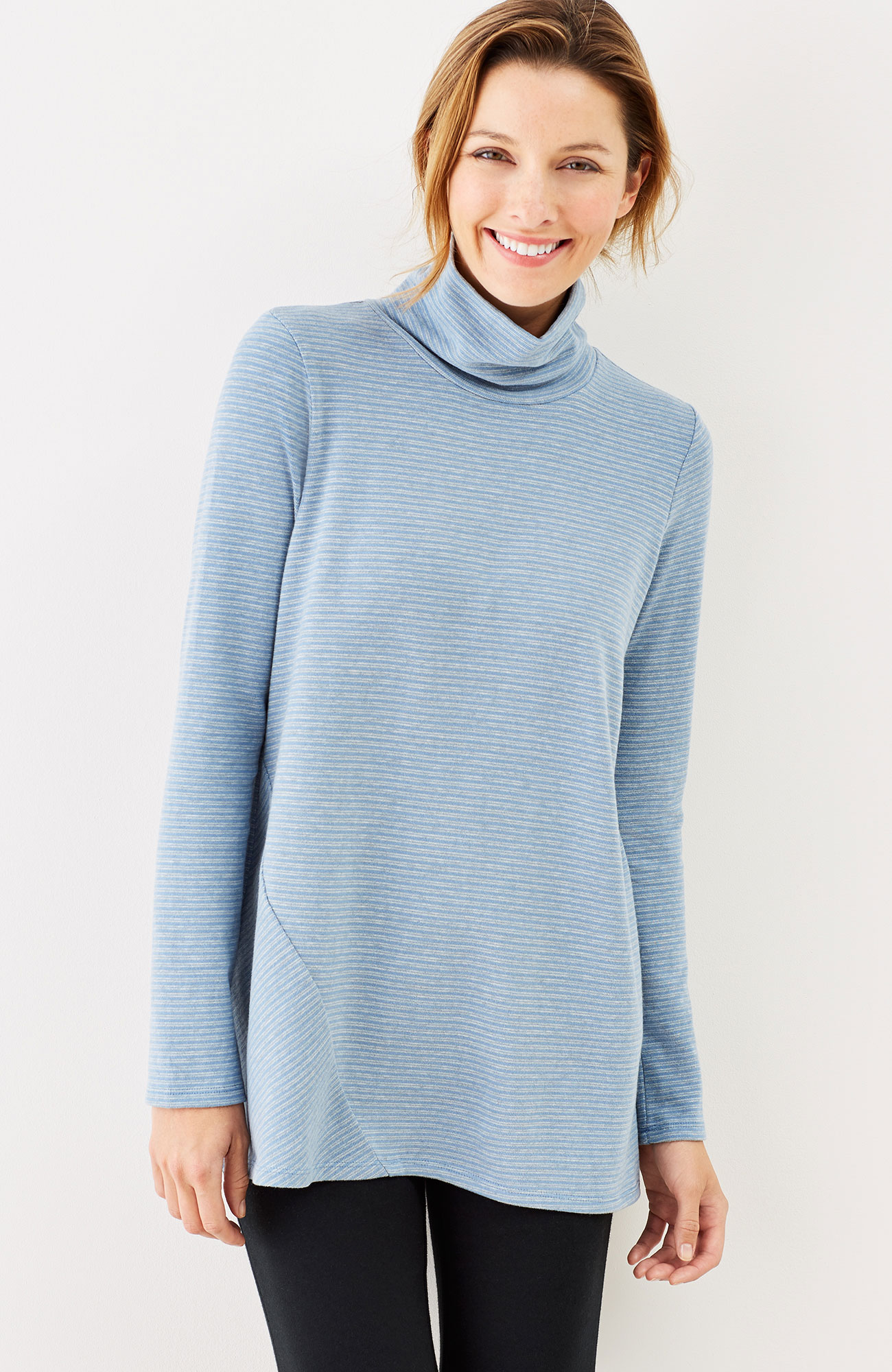 Pure Jill soft-touch cotton striped turtleneck