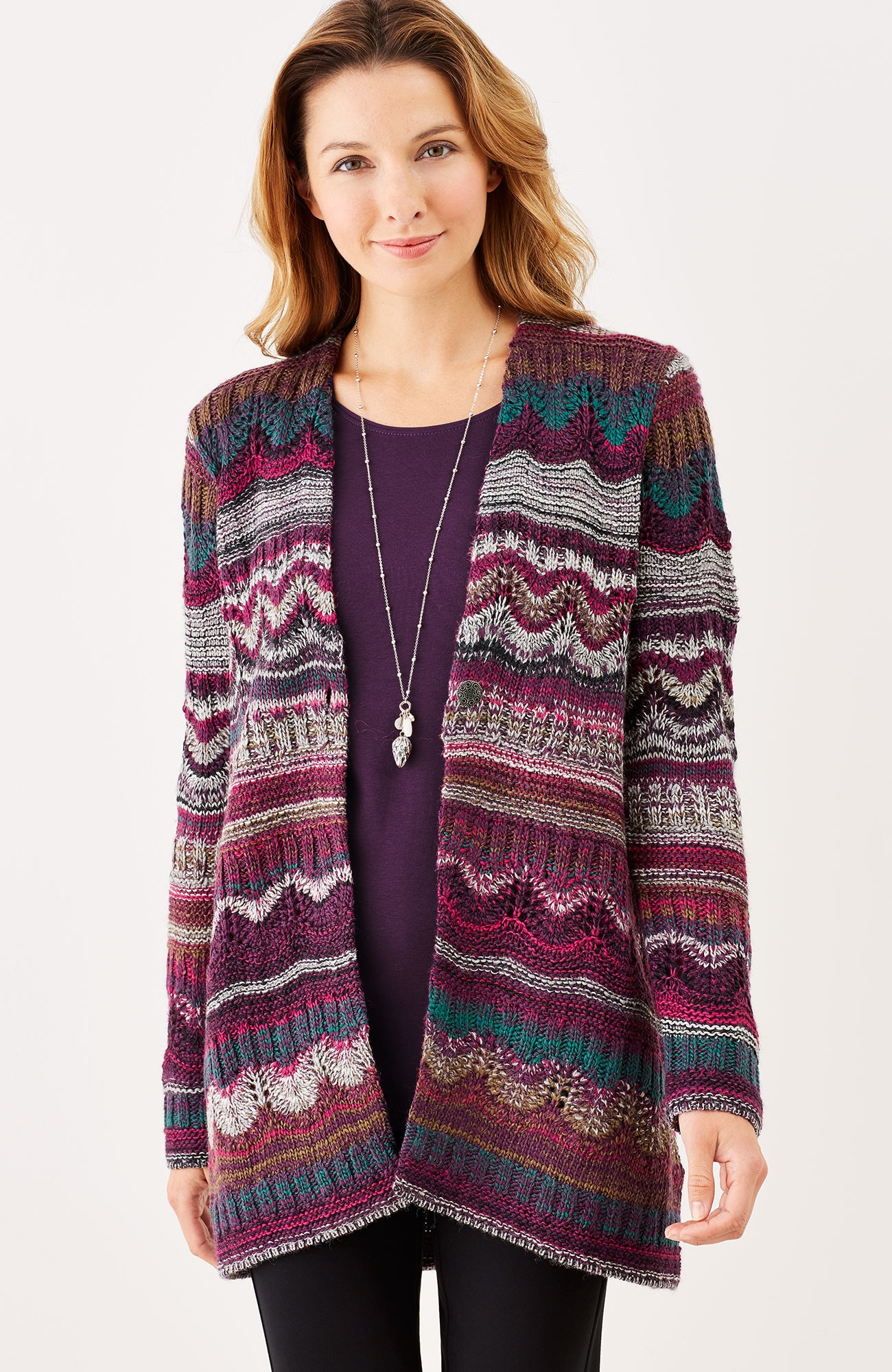 mixed-stitch drape-front cardi