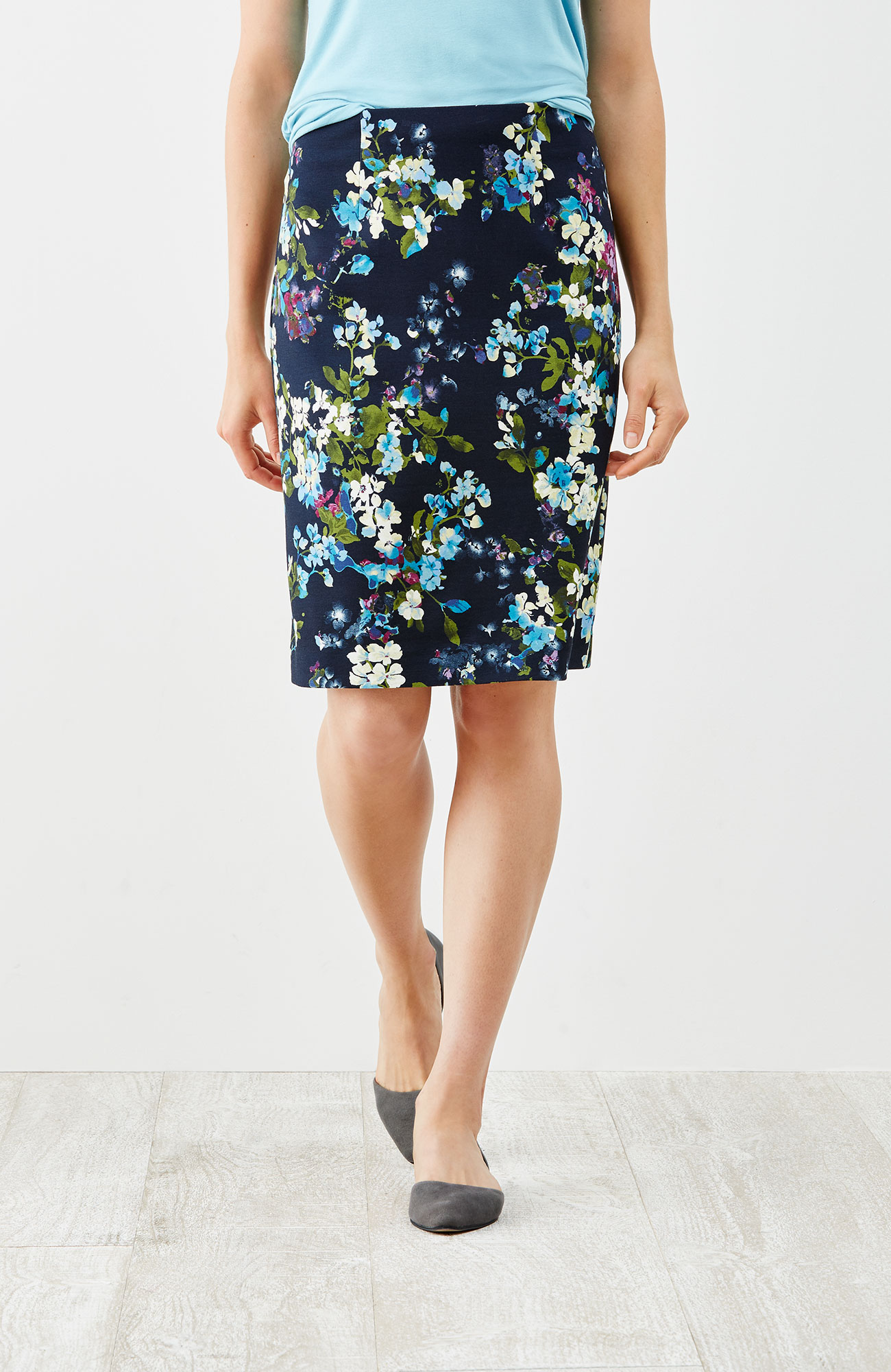 ponte knit printed pencil skirt