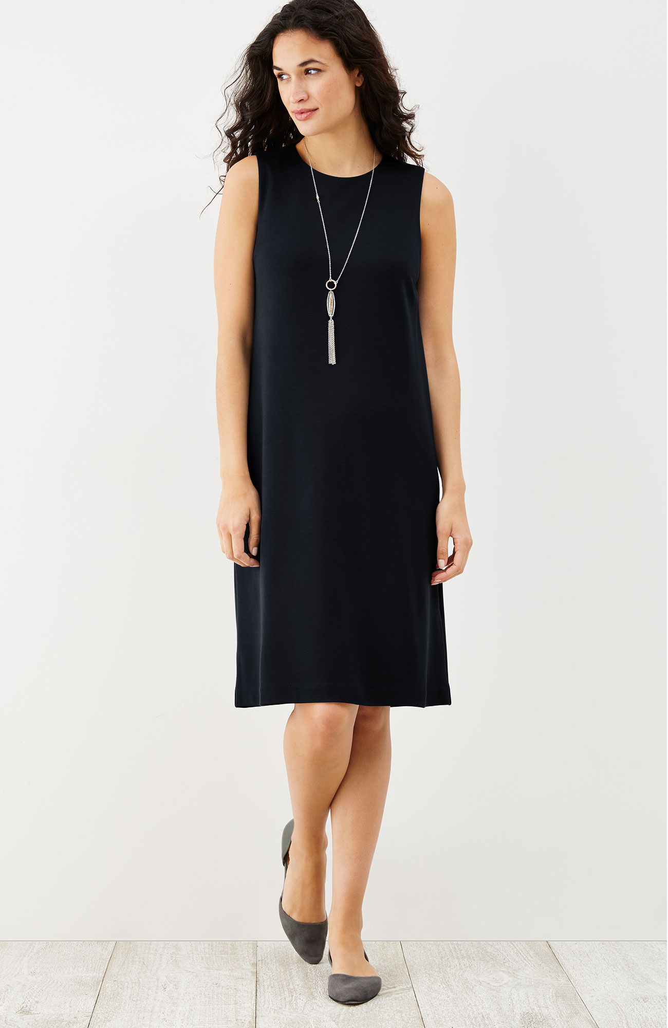ponte knit sleeveless dress