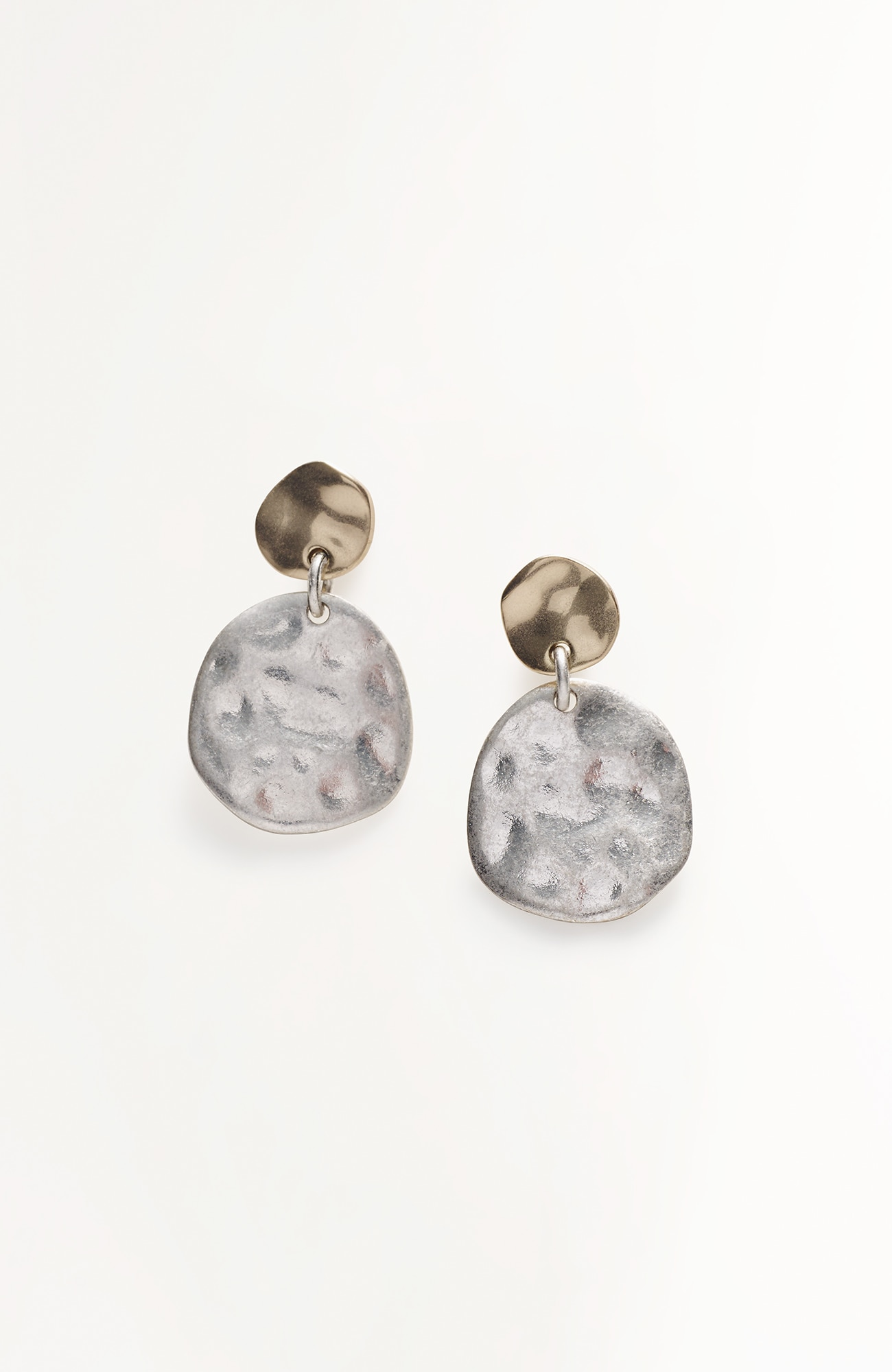 mixed-metal disk earrings