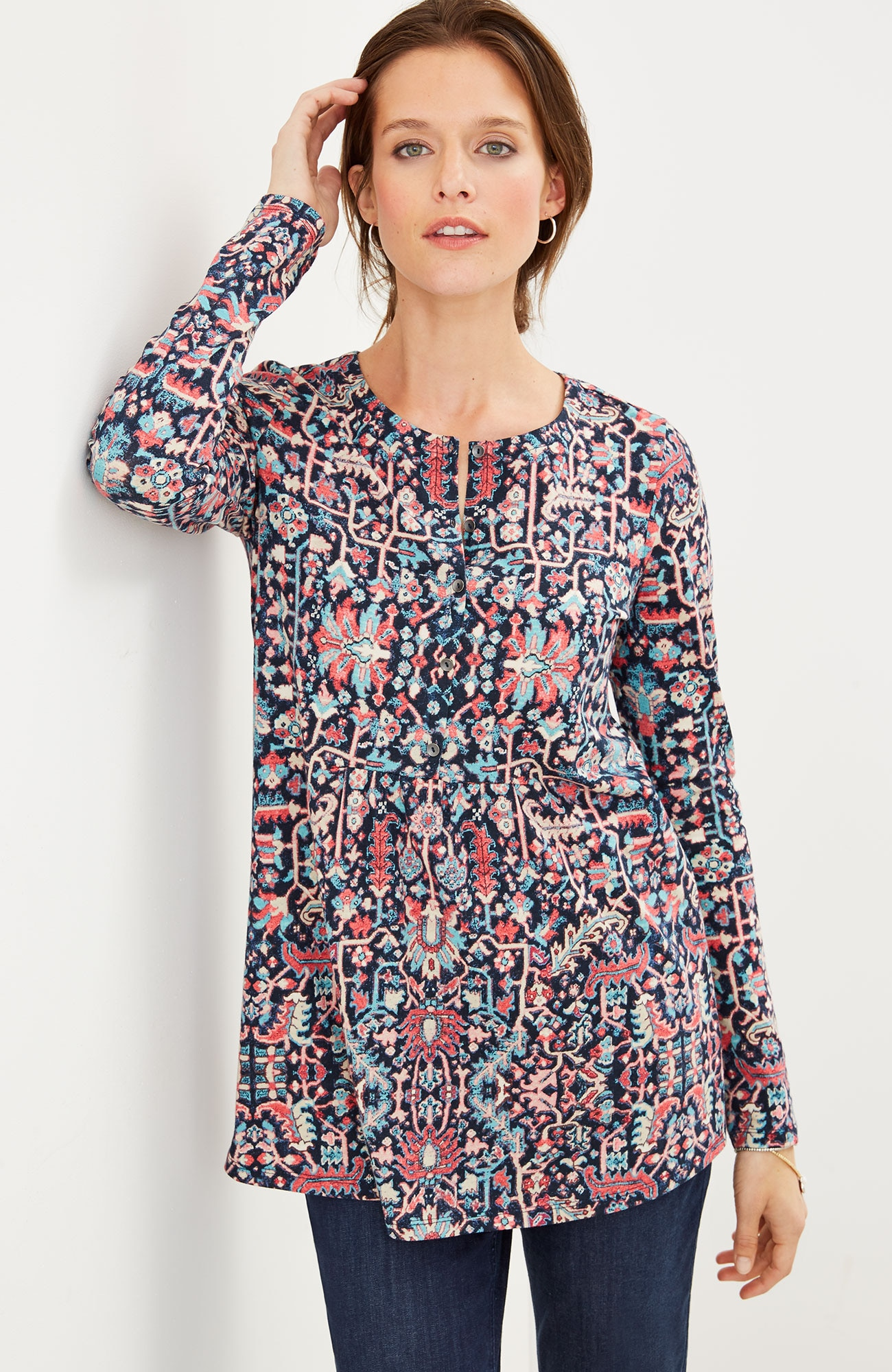 tapestry-print knit top