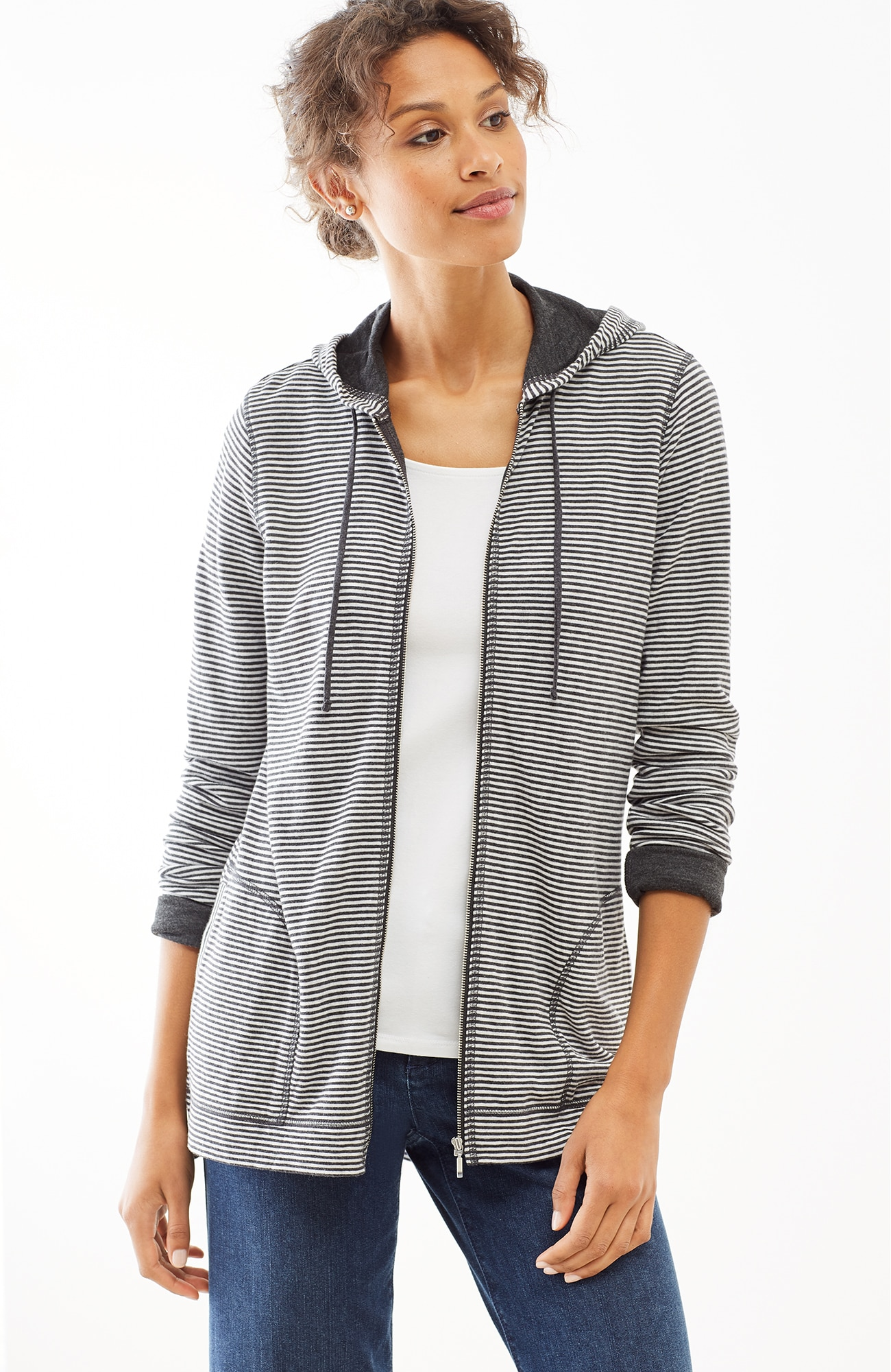 striped double-knit hoodie