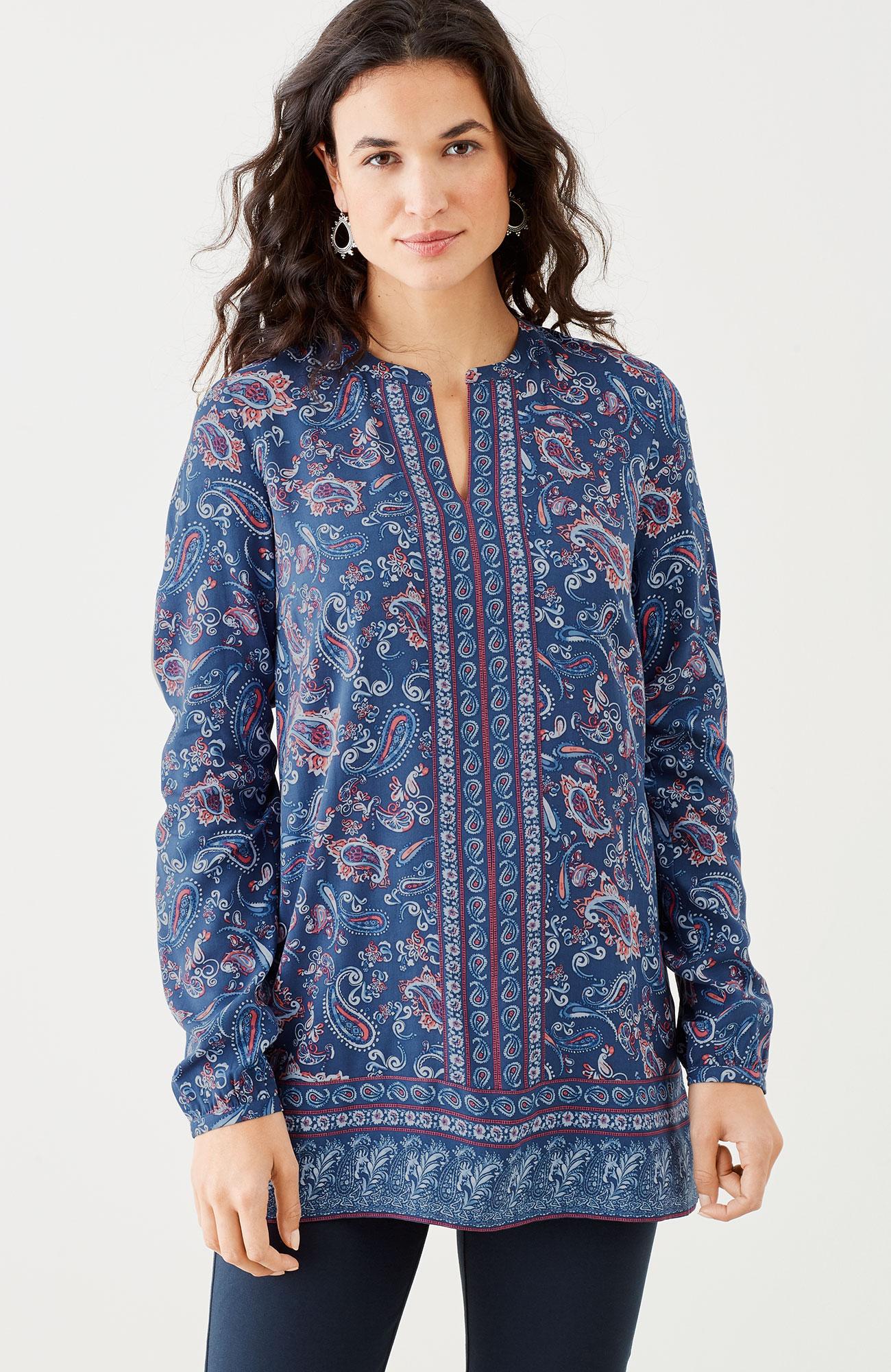 paisley-border tunic