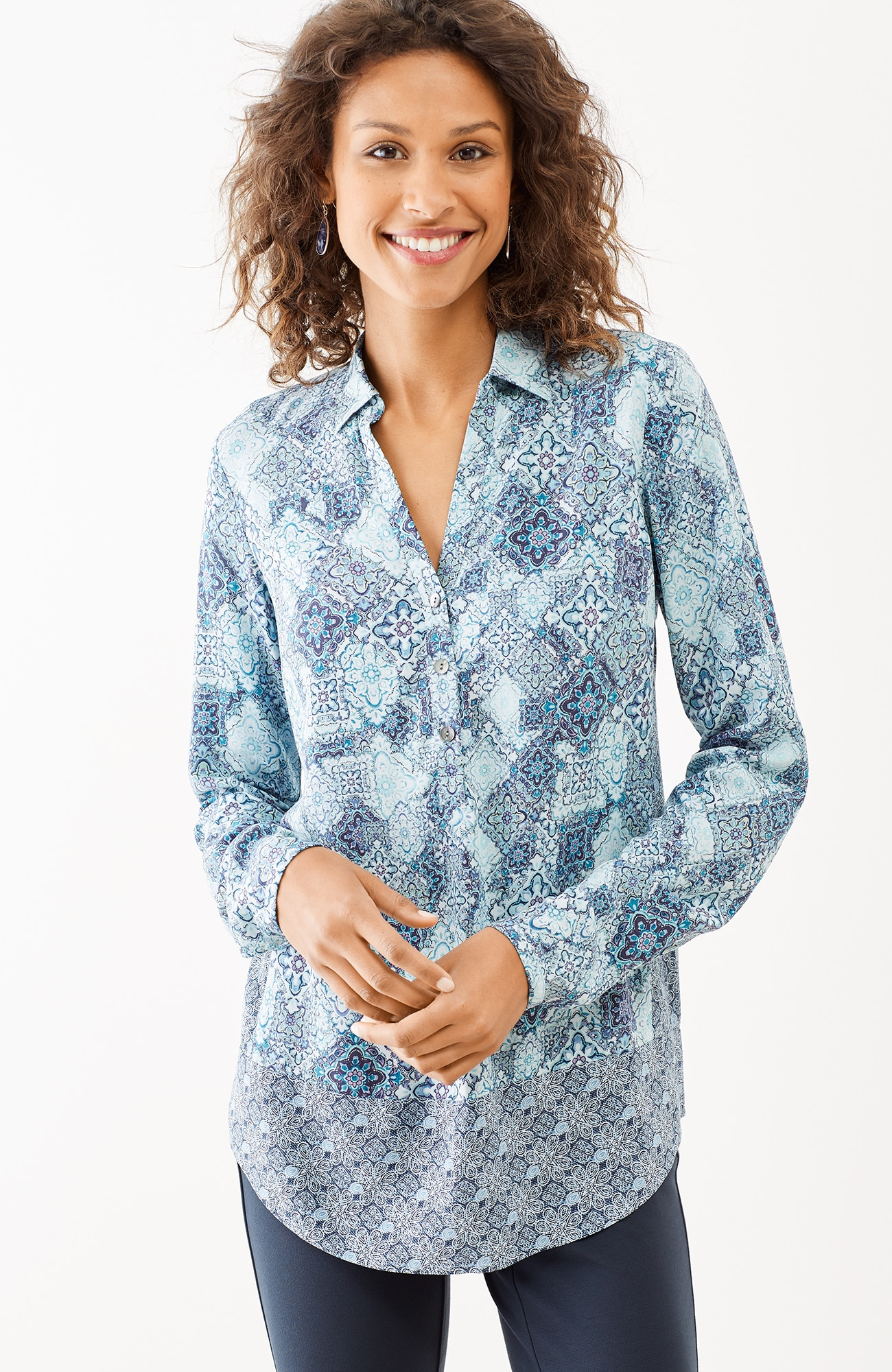 mixed-print shirttail top