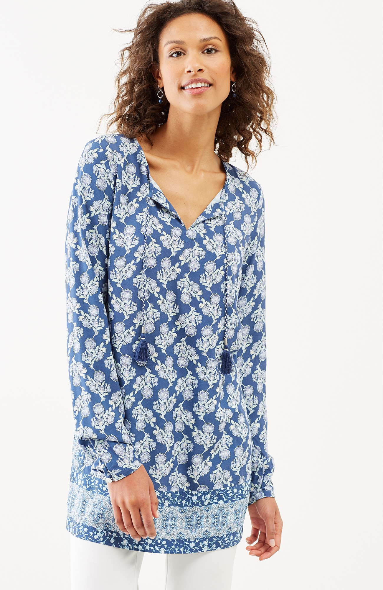 floral vines long-sleeve tunic