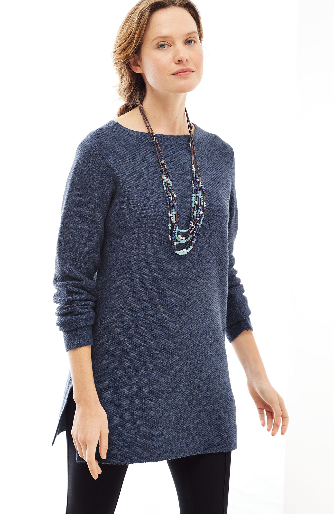 textured boat-neck sweater tunic