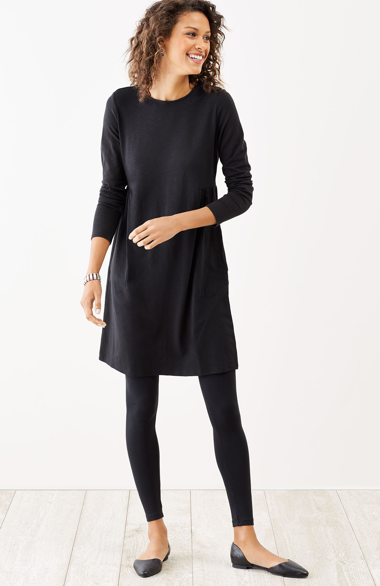shirred-waist knit dress