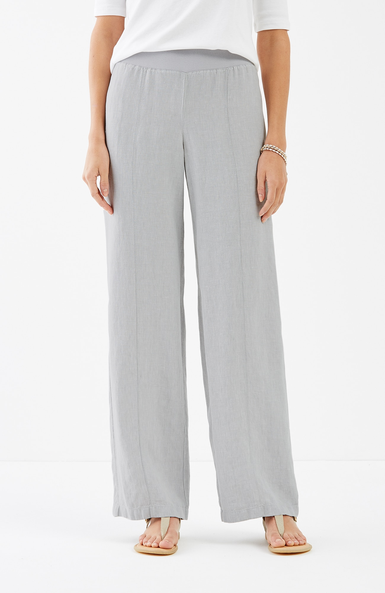 linen full-leg seamed pants