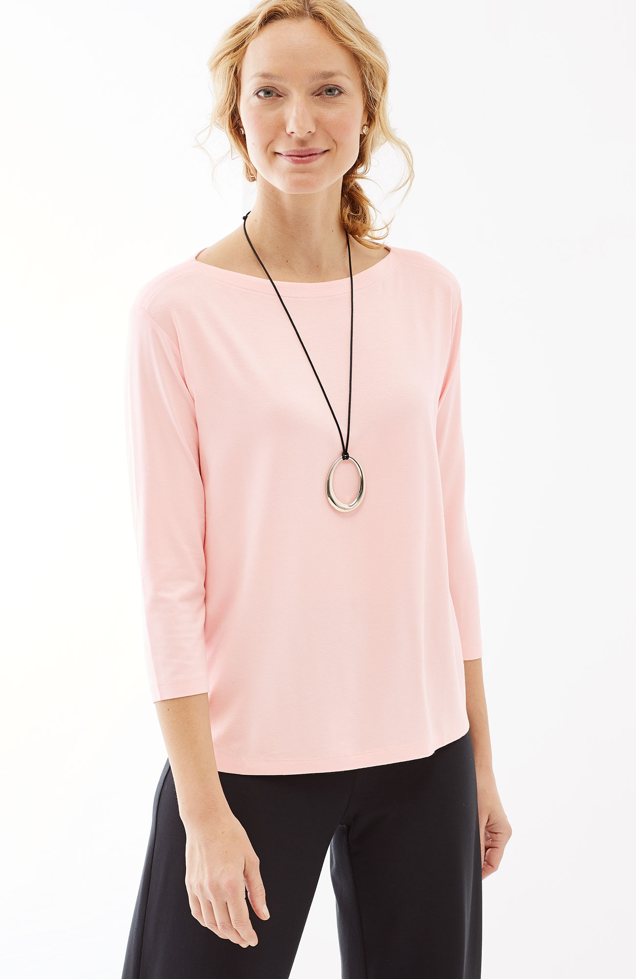 Wearever 3/4-sleeve boat-neck top