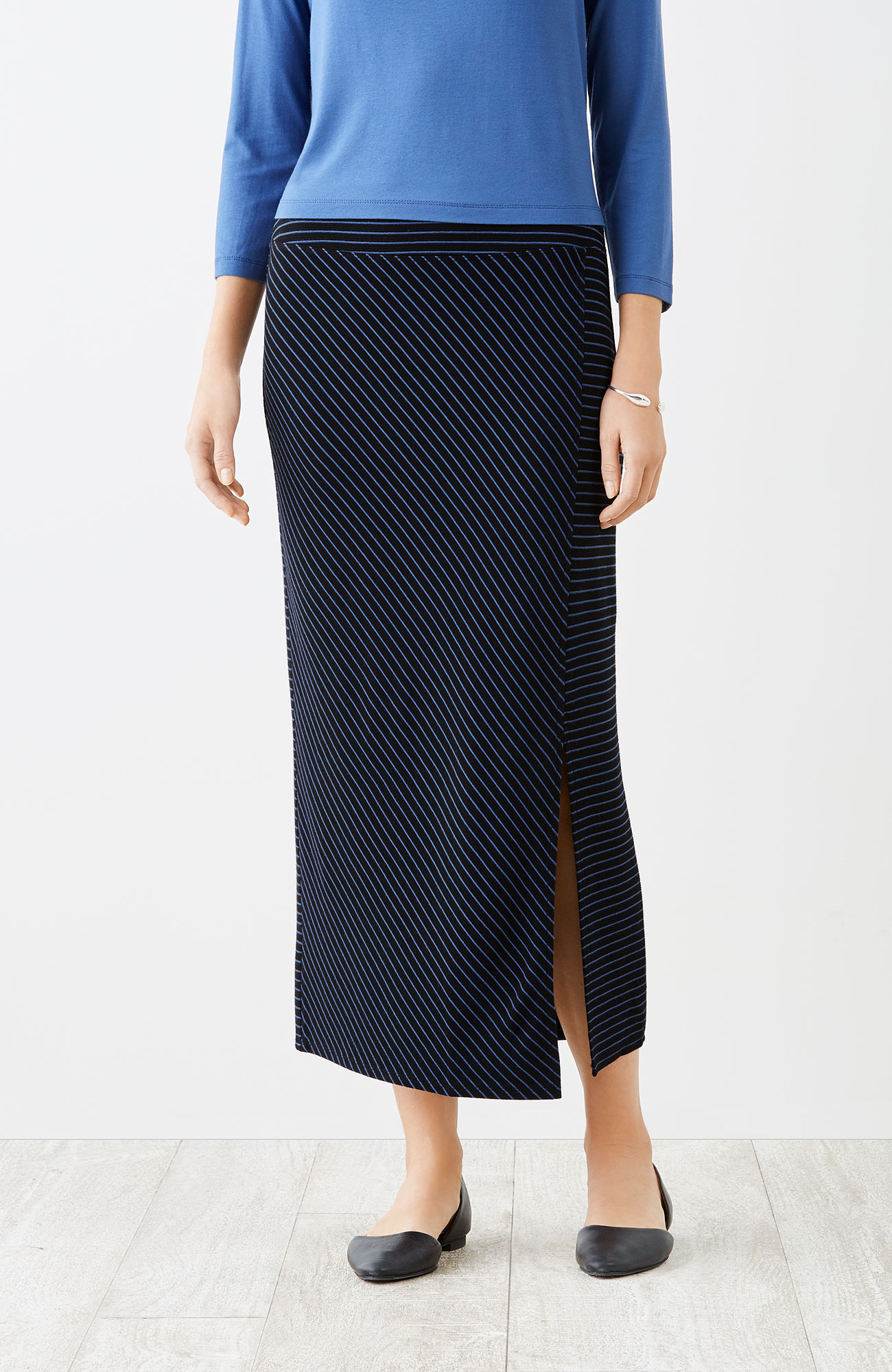 Wearever ottoman-knit striped skirt