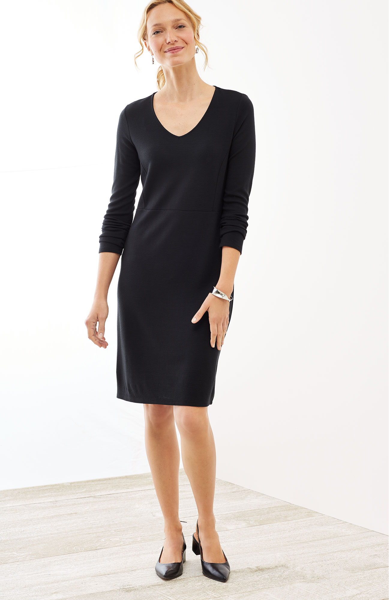 Wearever ottoman-knit V-neck dress