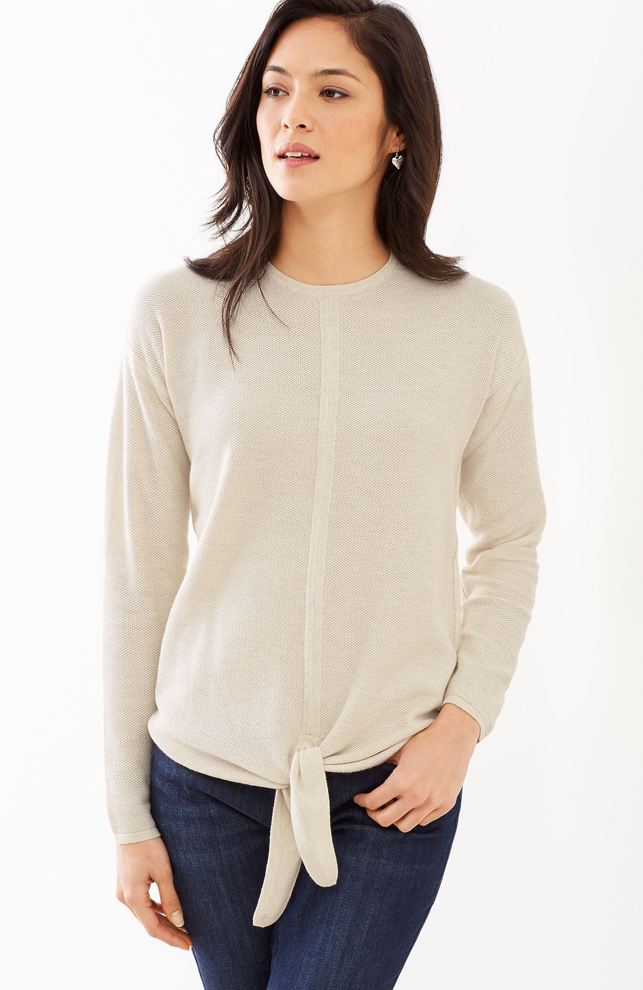 textured tie-front pullover