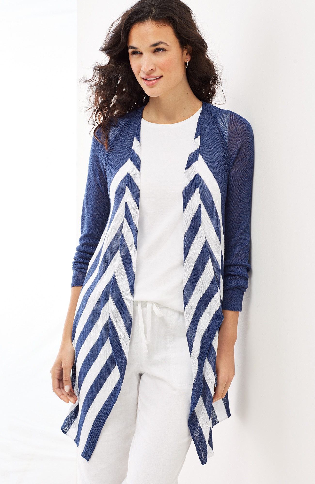 linen & viscose striped cardi