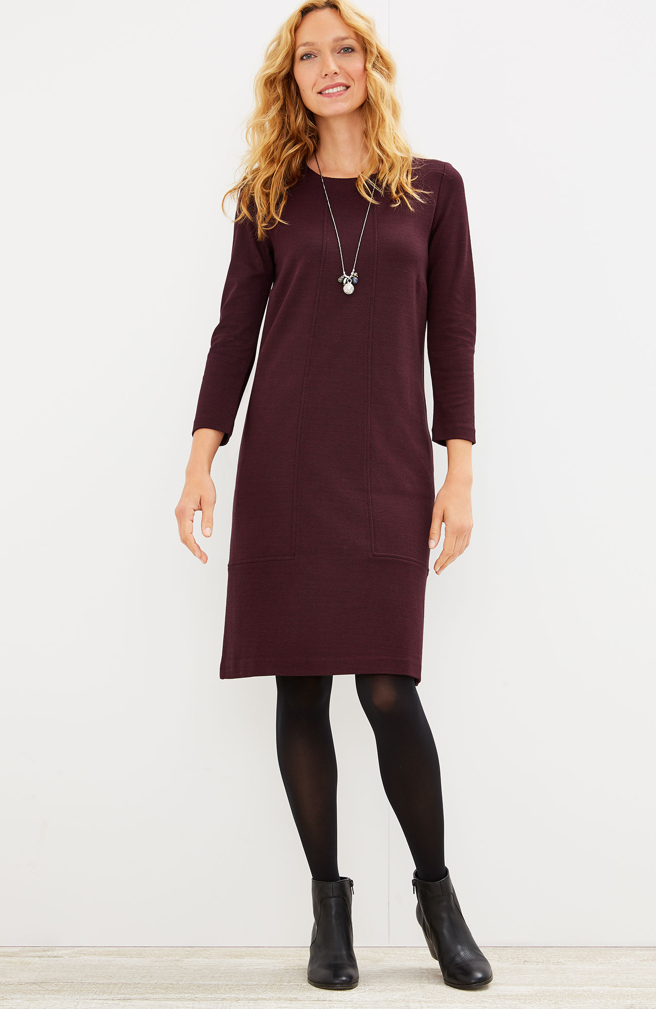 ponte knit seamed herringbone dress
