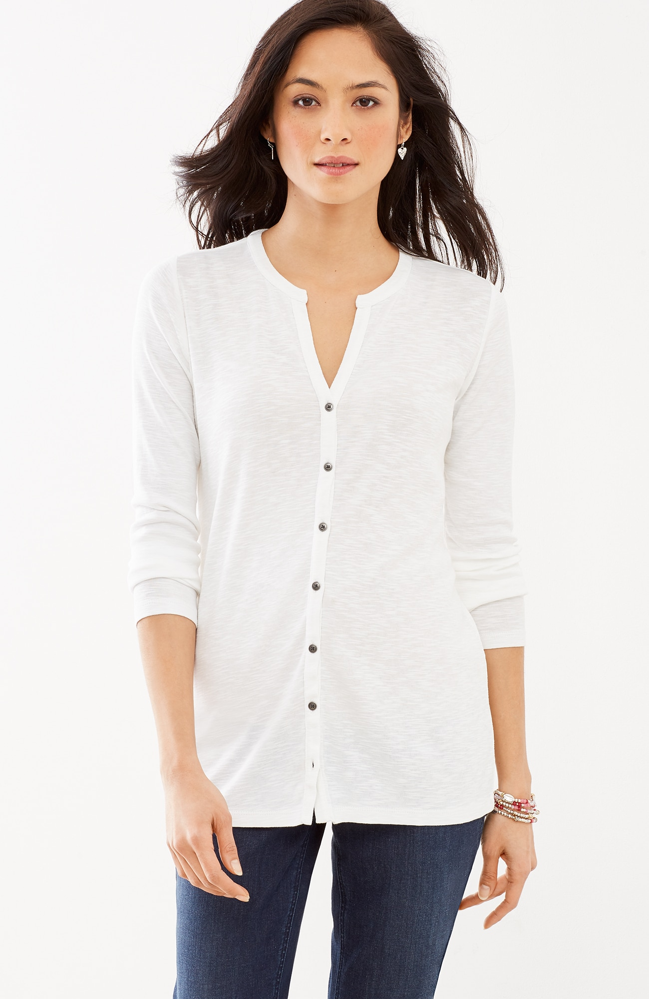 pima button-front top